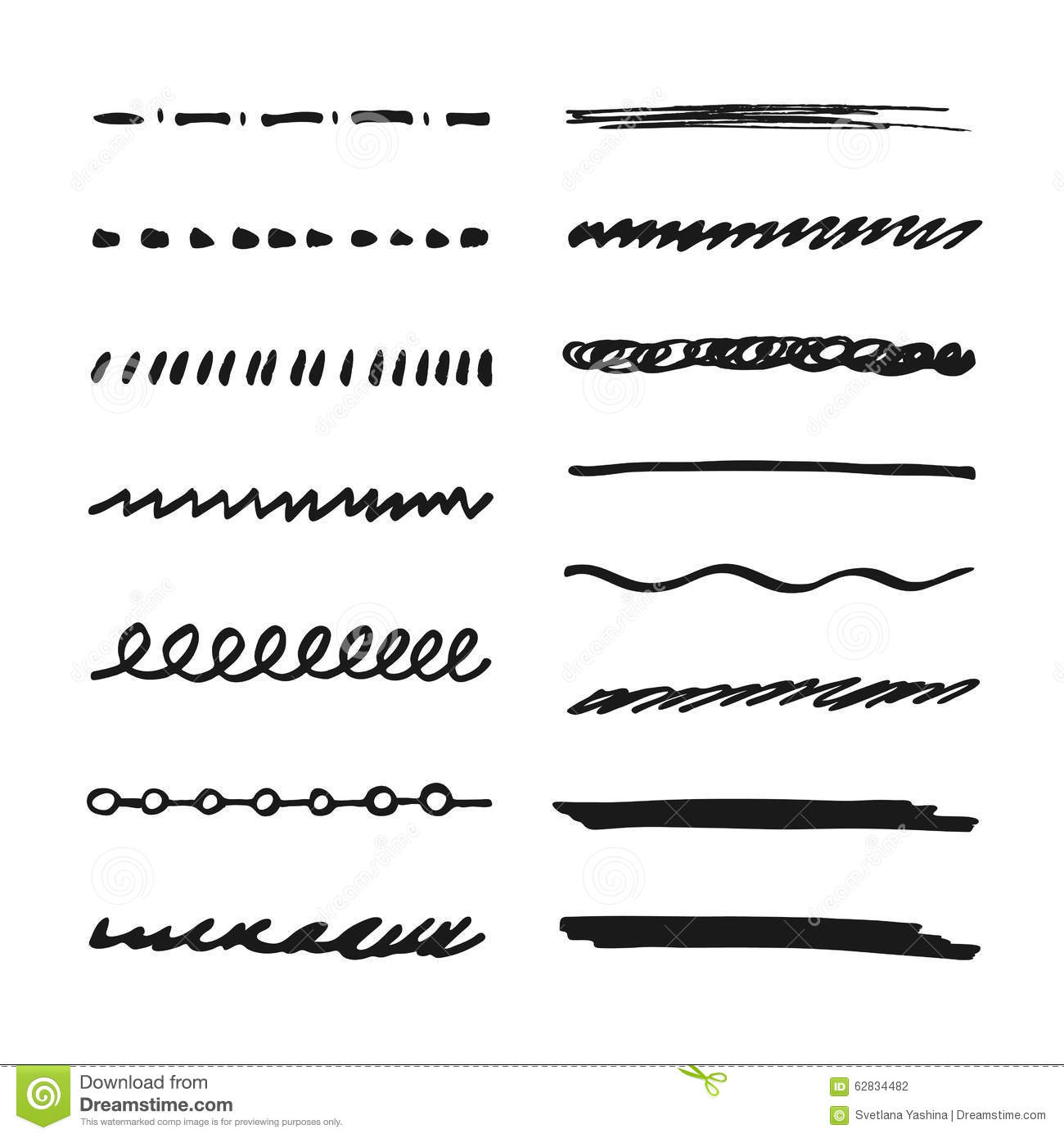 Marker Strokes Set Cartoon Vector