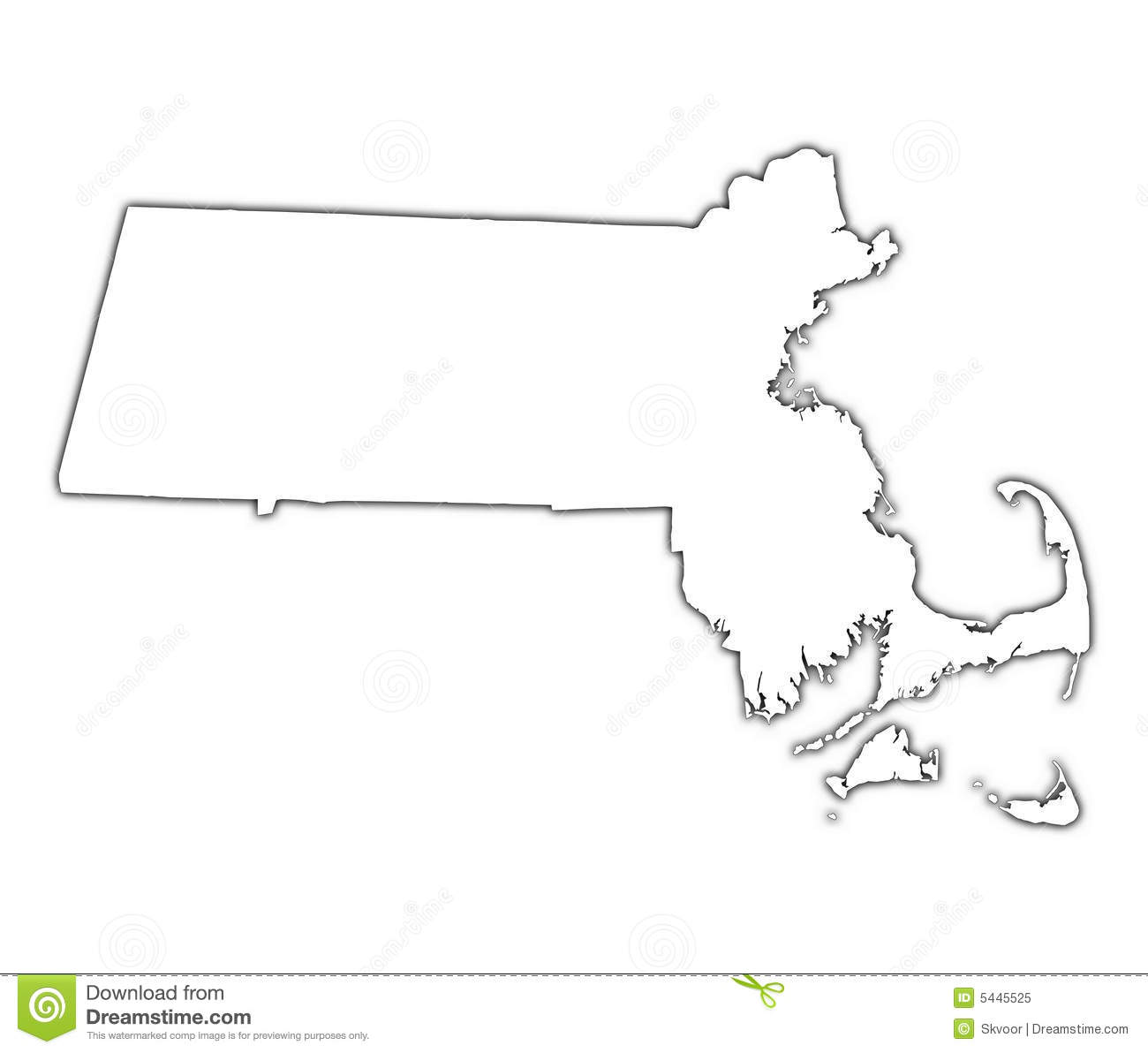 Massachusetts Usa Map Royalty Free Stock Photo