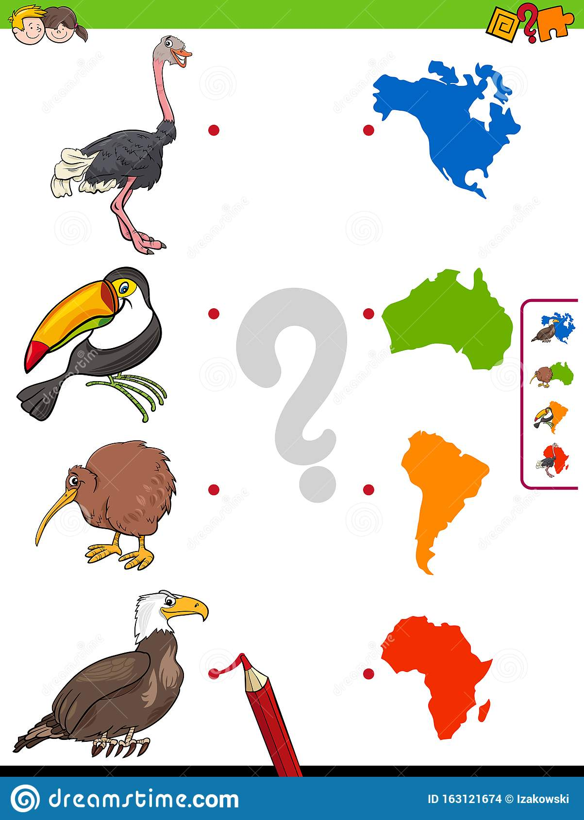 Match Animals And Continents Shapes Educational Game Stock
