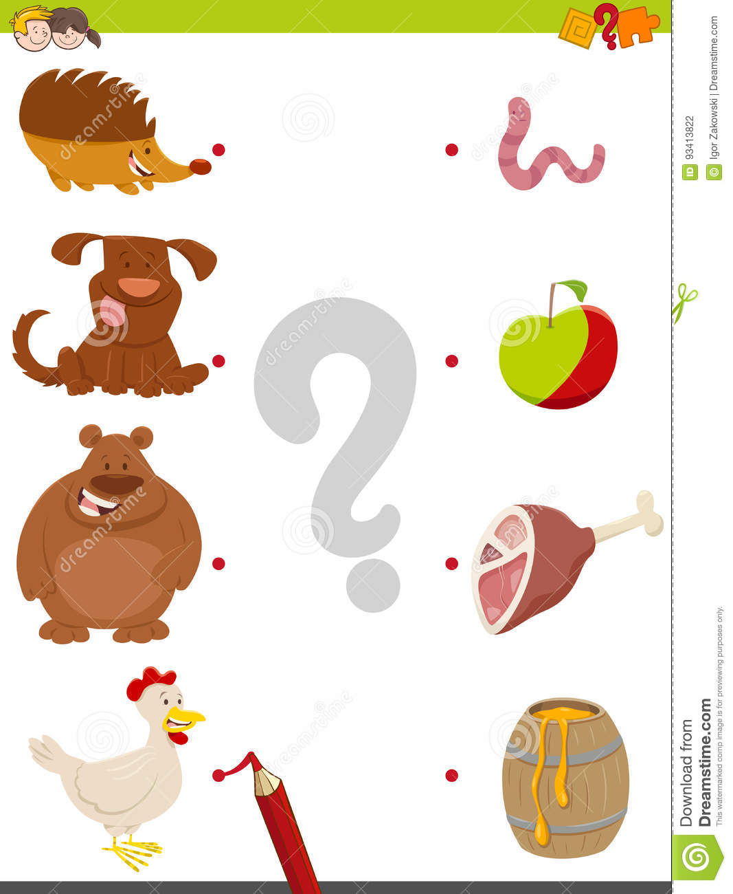 Match Animals And Food Game Stock Vector