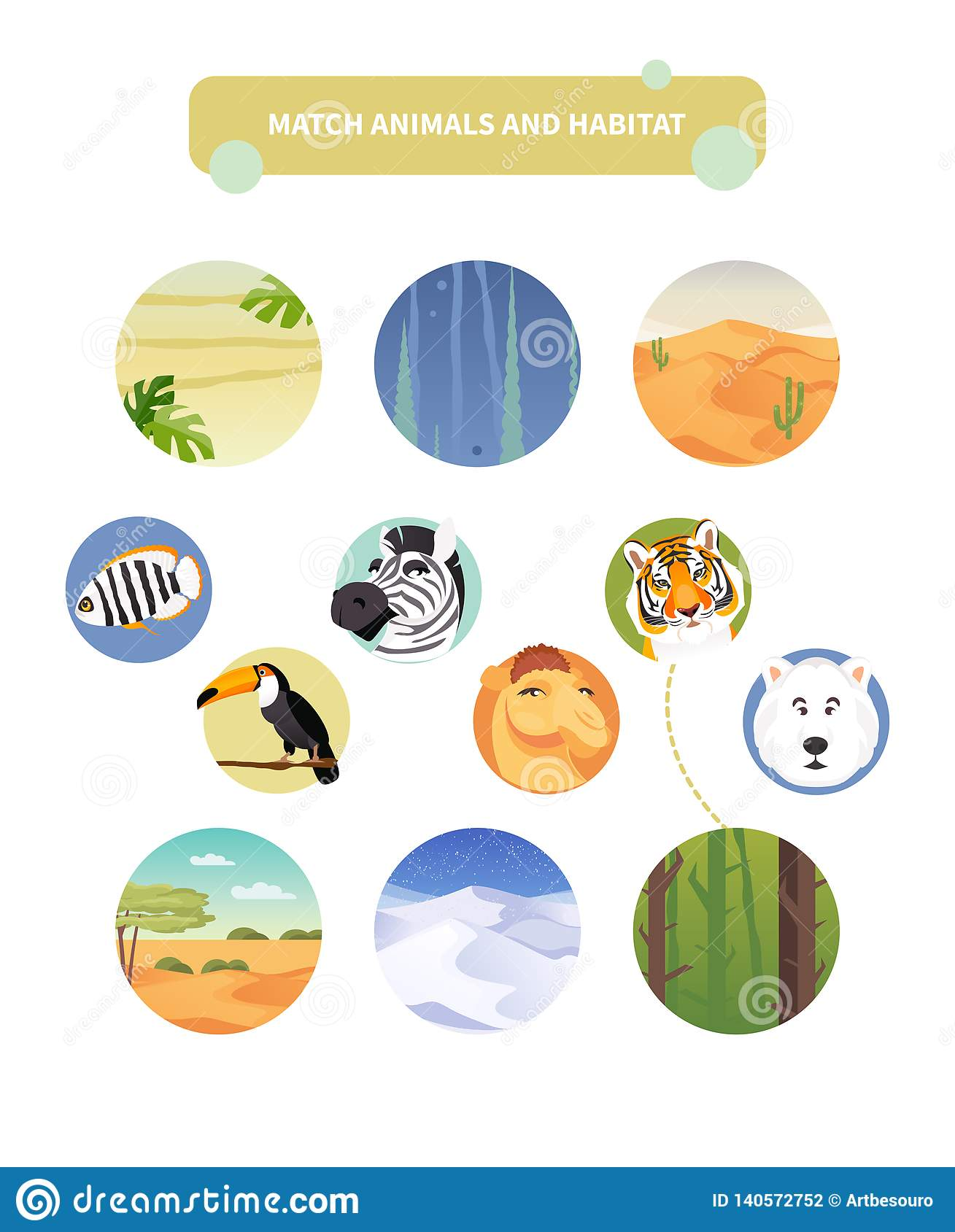 Match Animals And Habitat Stock Vector Illustration Of