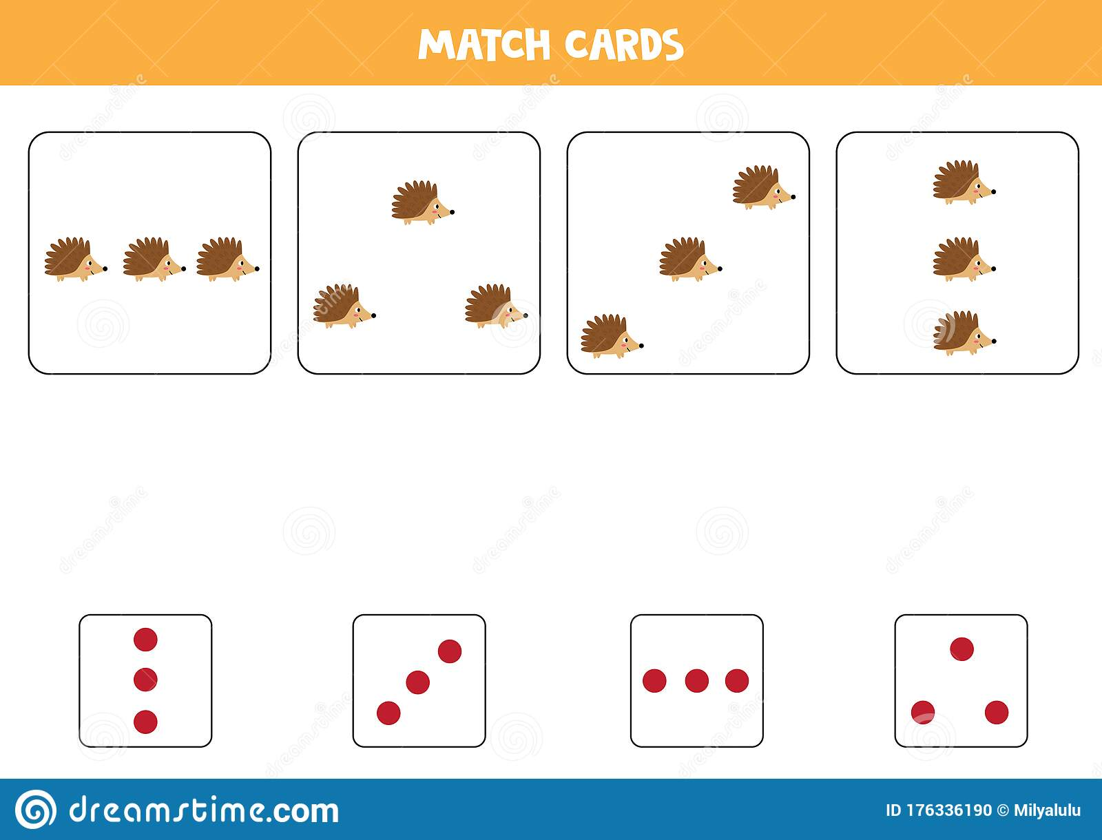 Match Cute Cartoon Hedgehogs And Cards With Dots Stock