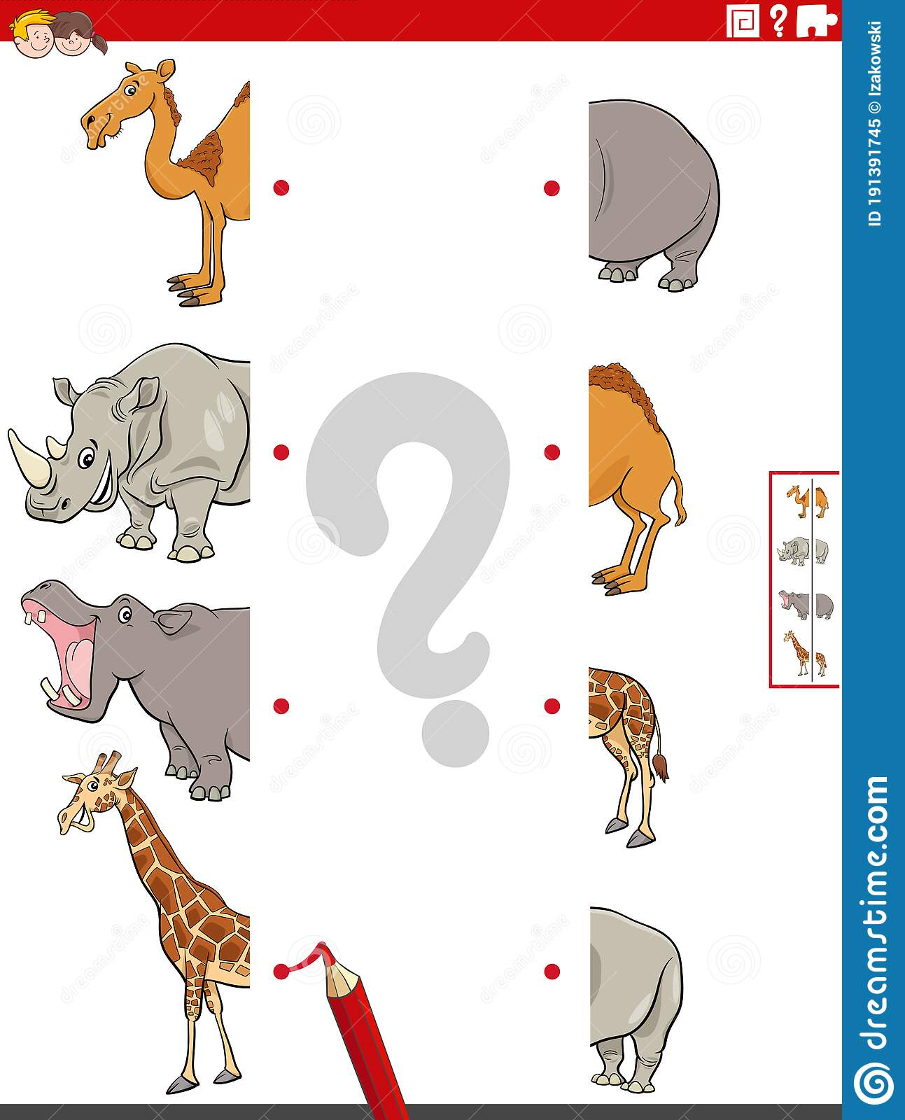 Match Halves Of Pictures With Safari Animals Educational