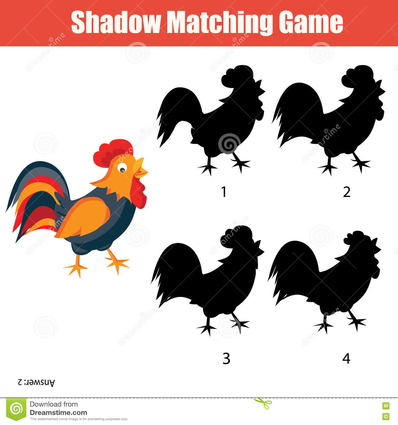 Find The Correct Shadow Farm Animals Vector Illustration