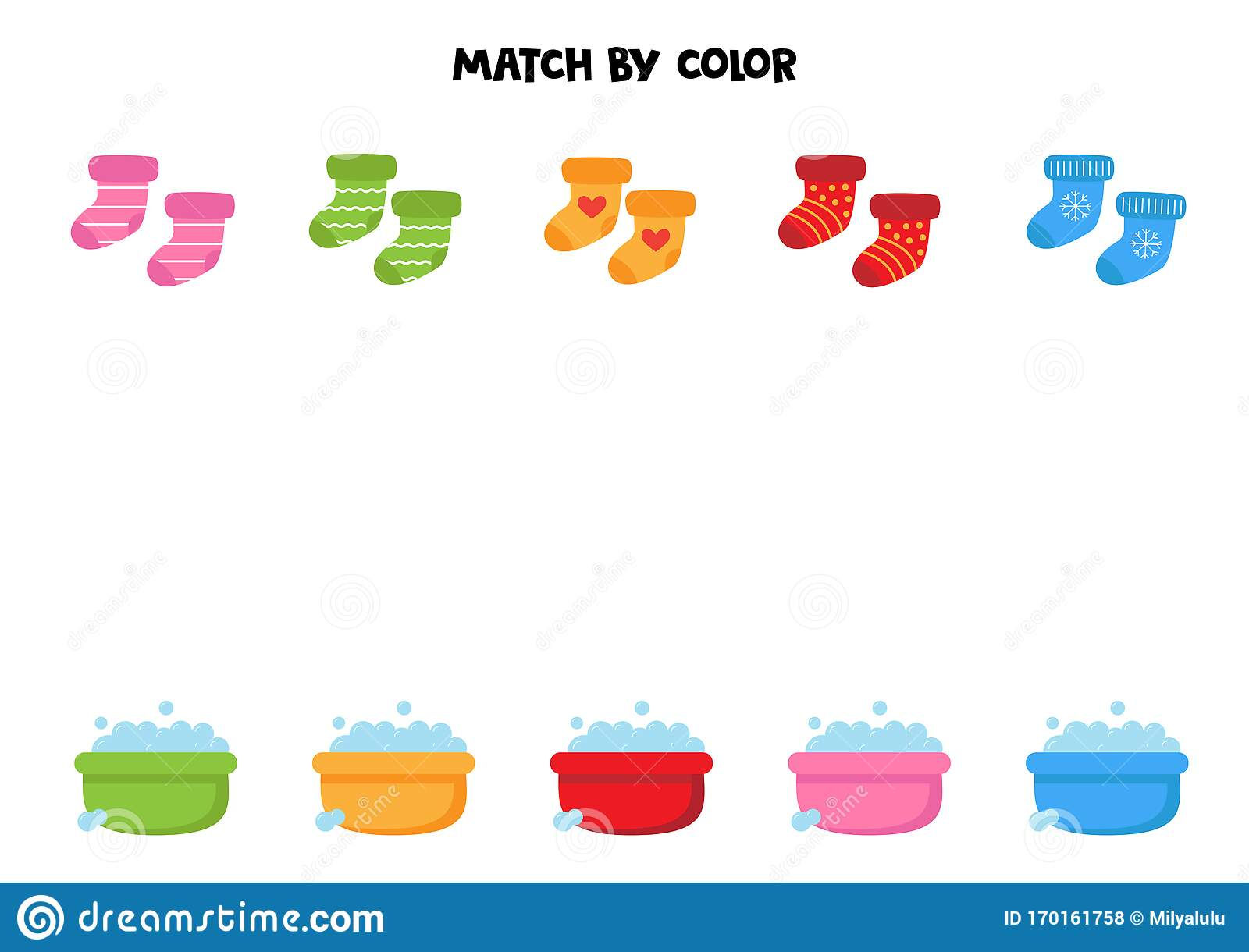 Match Socks And Soap Water Basins By Colors Educational
