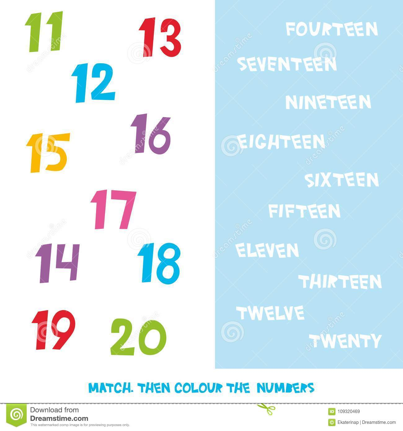 Match Then Colour The Numbers 11 To 20 Kids Words