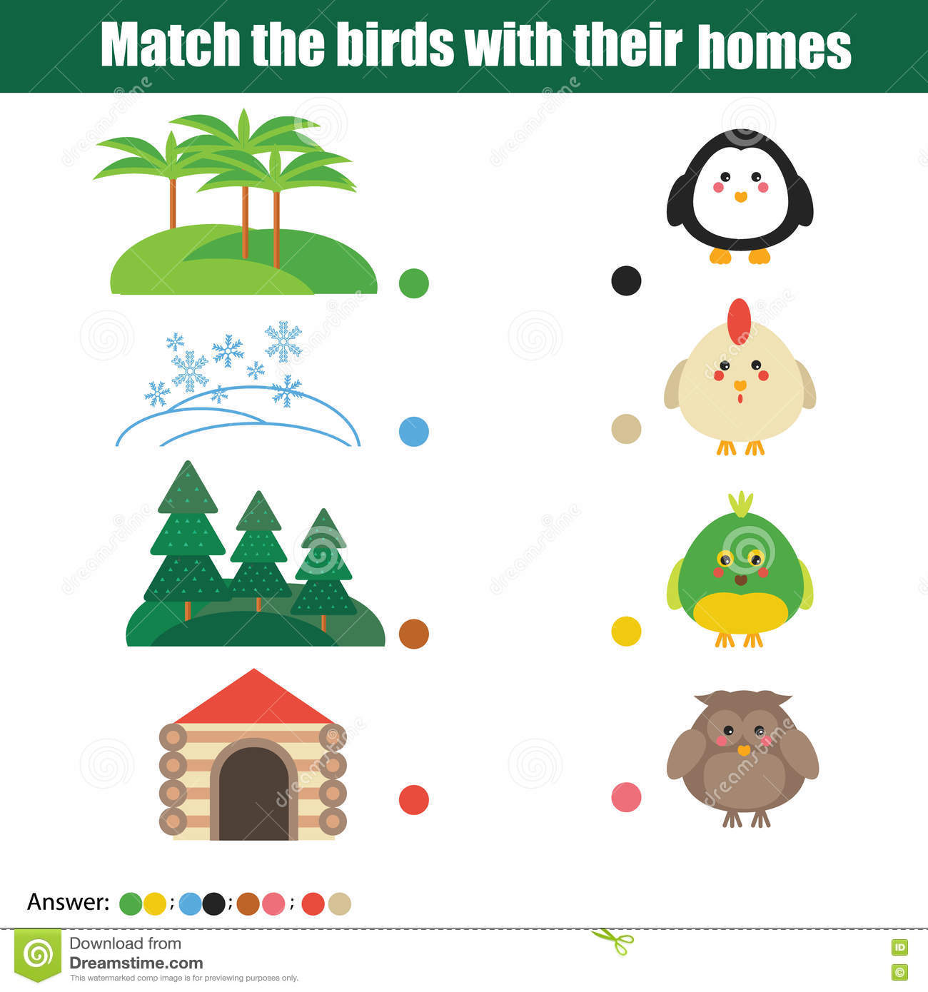 Matching Children Education Game Stock Vector