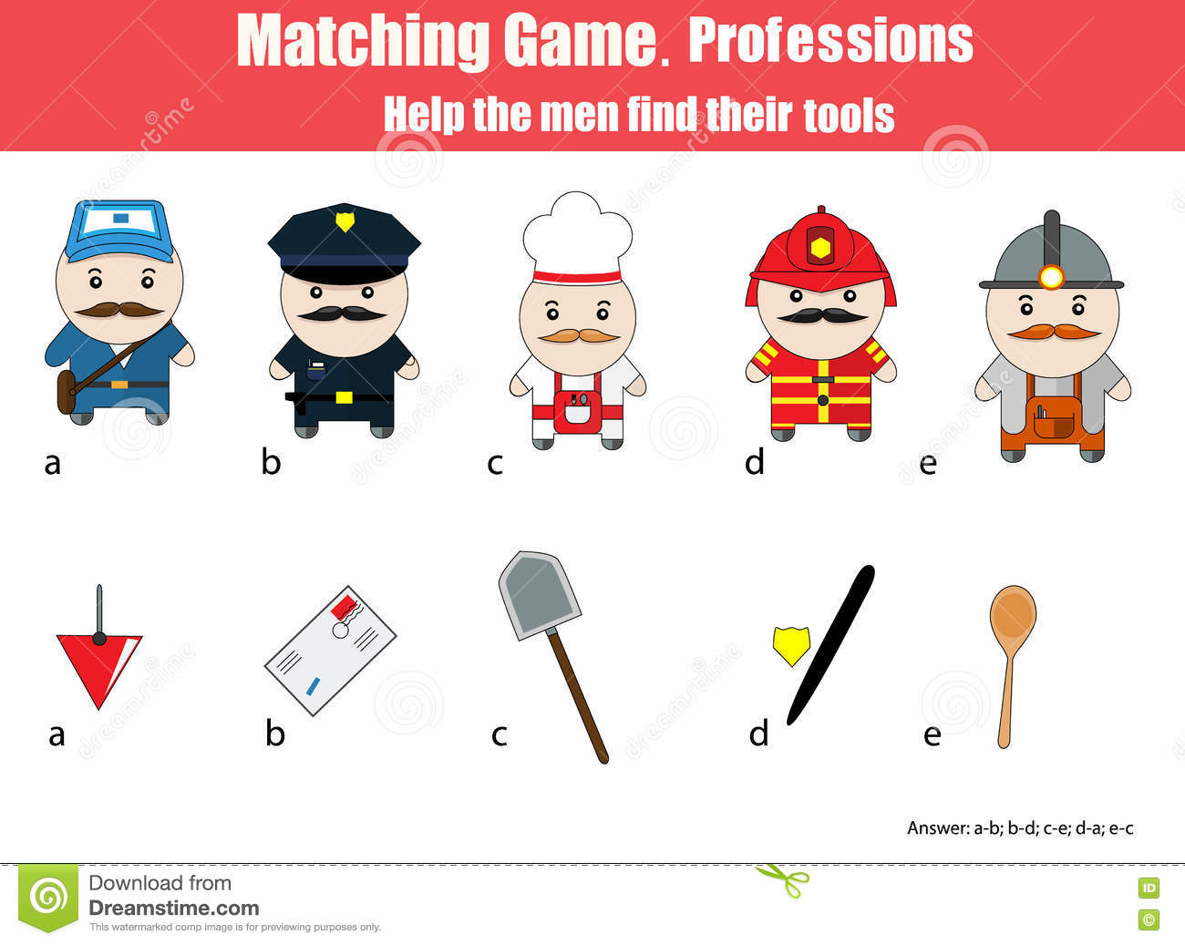 Matching Children Education Game Professions Theme Stock