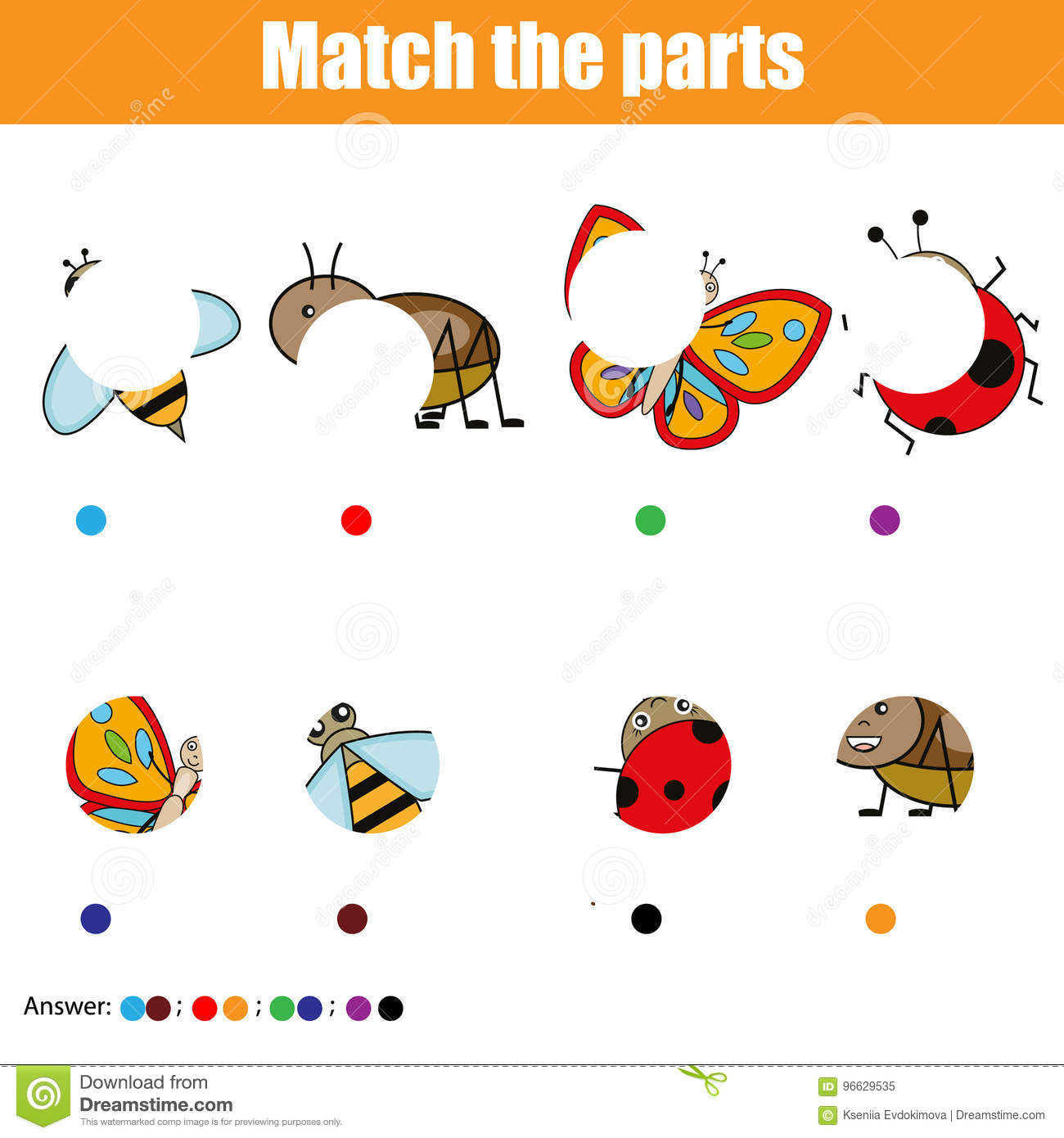 Matching Children Educational Game Kids Activity Match