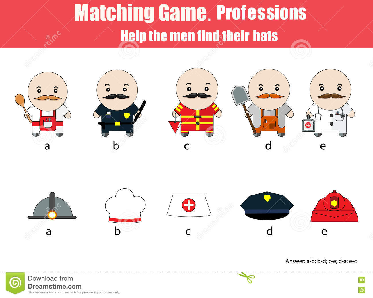 Matching Children Educational Game Professions Theme