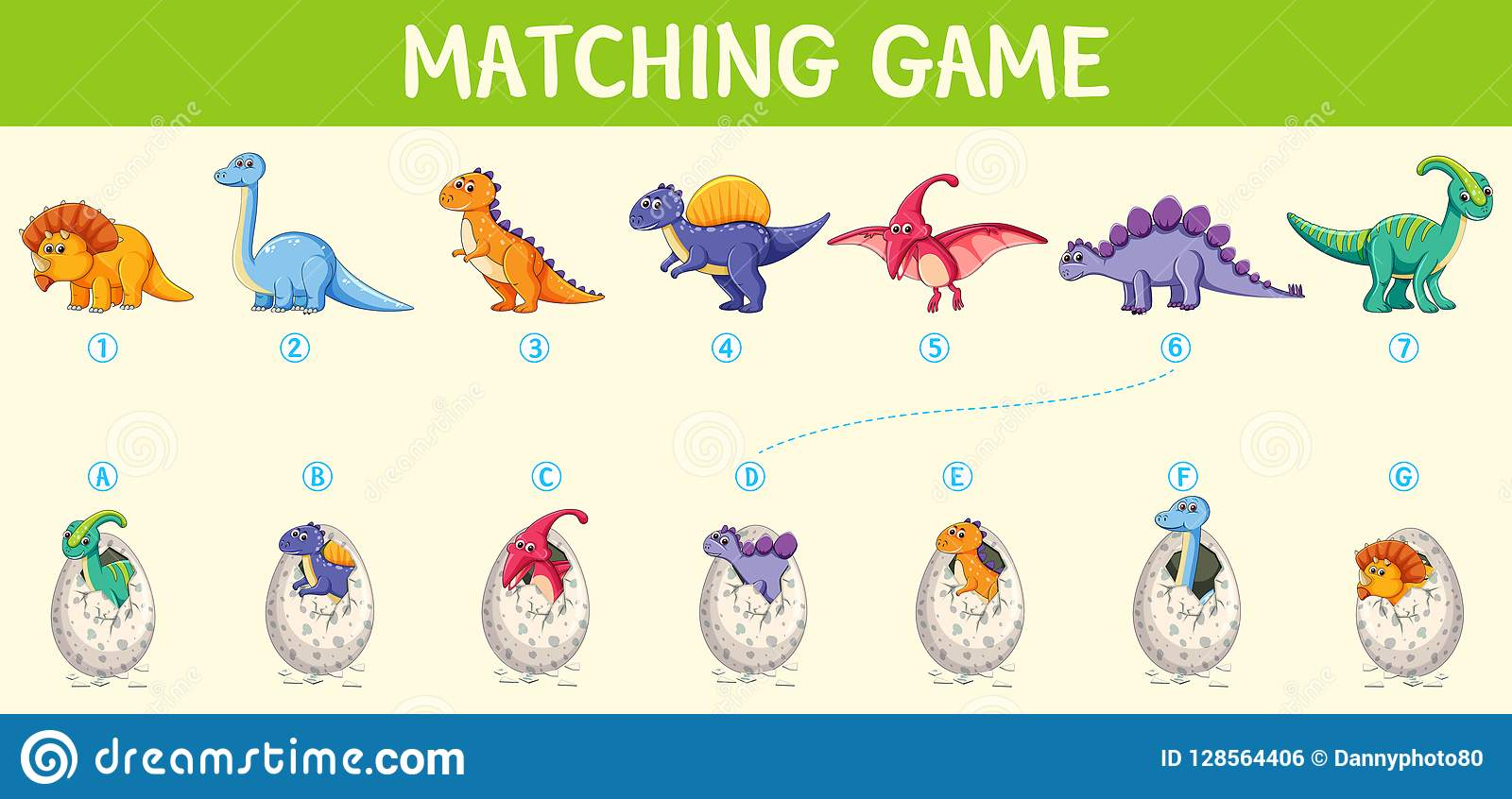 Matching Dinosaur Number Worksheet Stock Vector