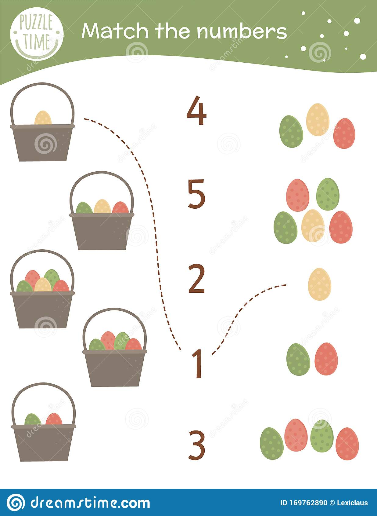 Matching Game With Baskets And Colored Eggs Easter Math