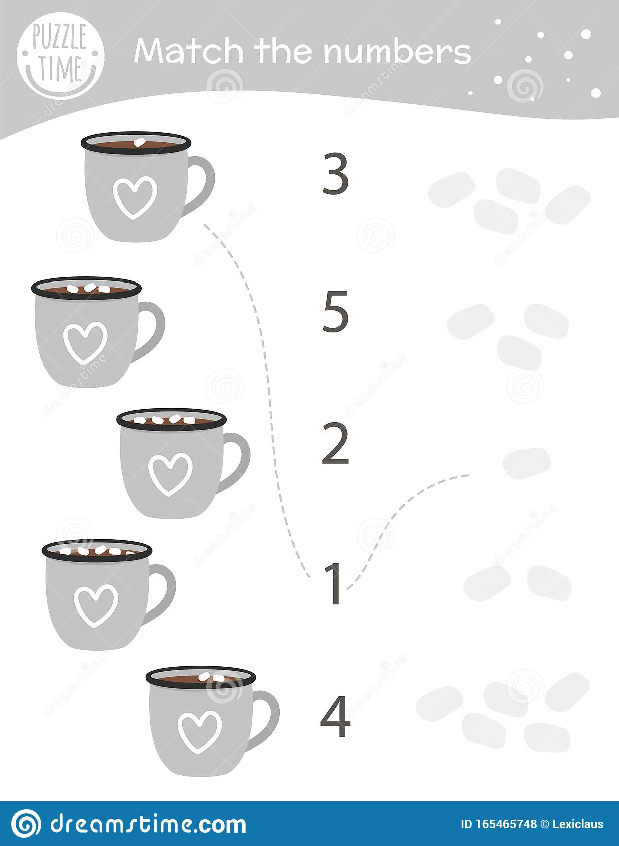 Matching Game With Cacao Cups And Marshmallow Winter Math