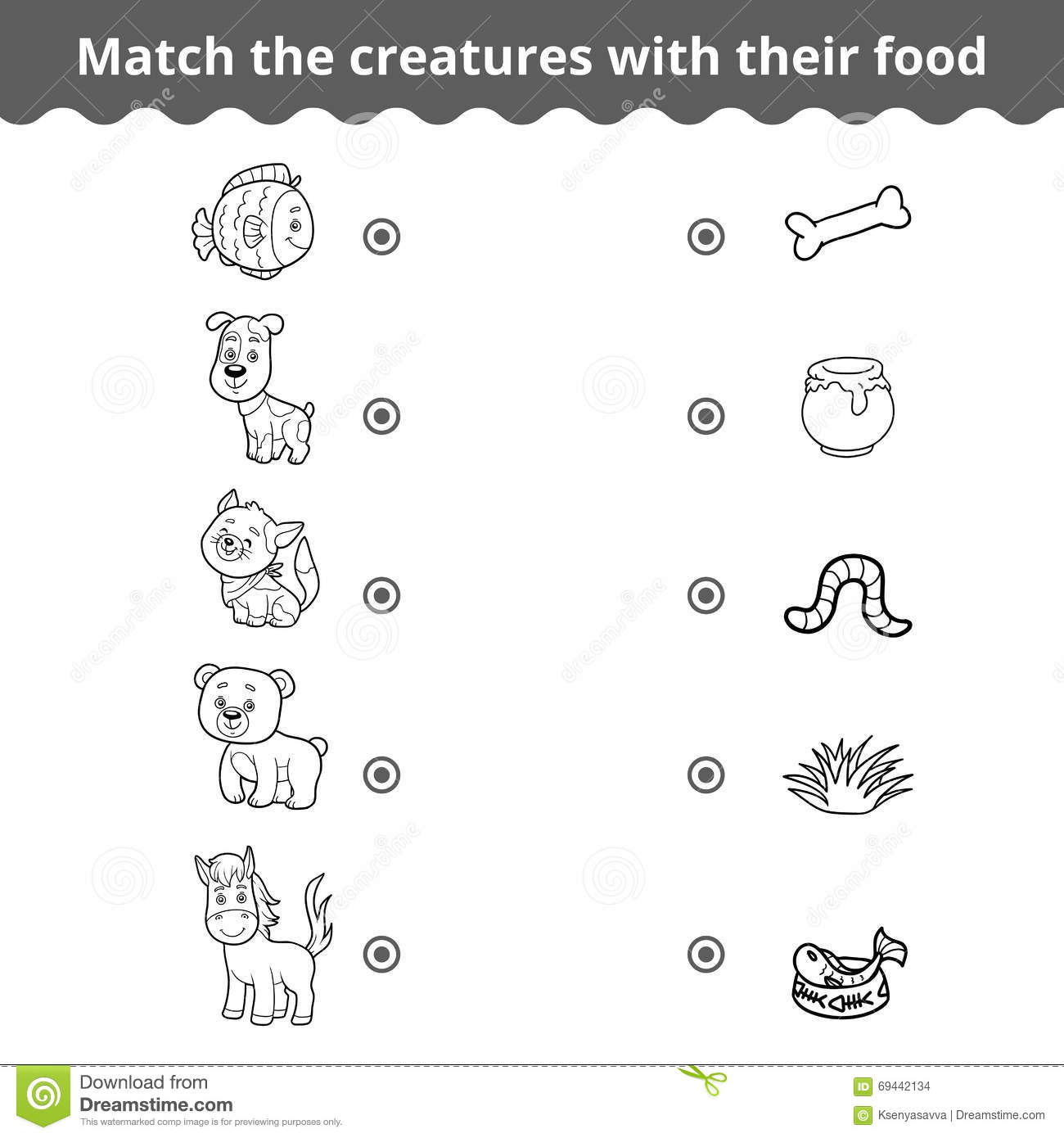 Matching Game For Children Animals And Favorite Food