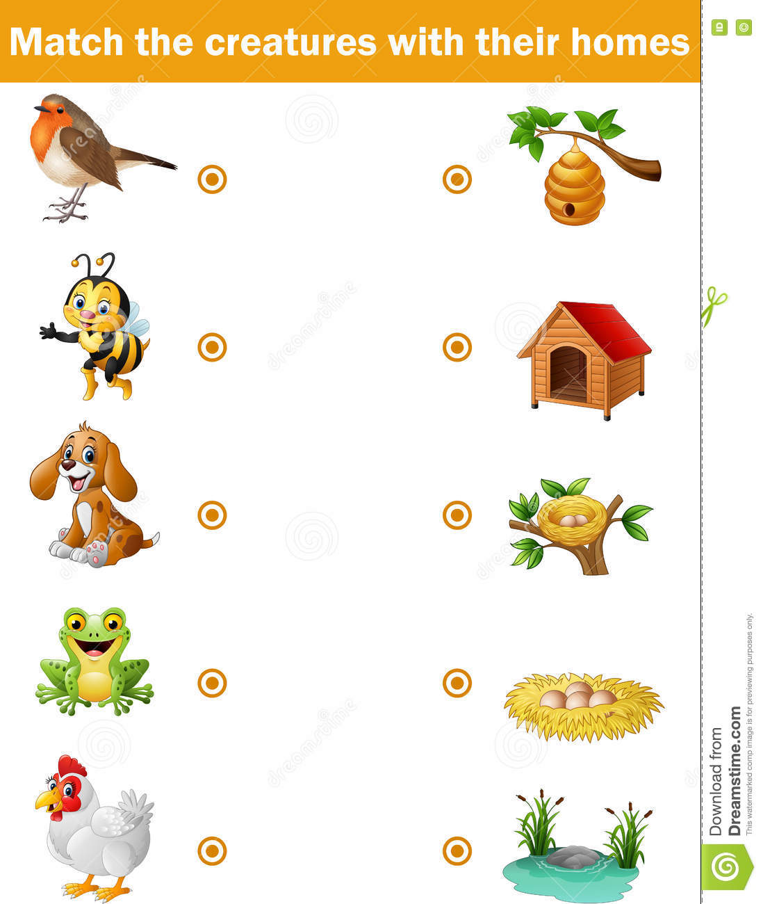 Matching Game For Children Animals With Their Homes Stock