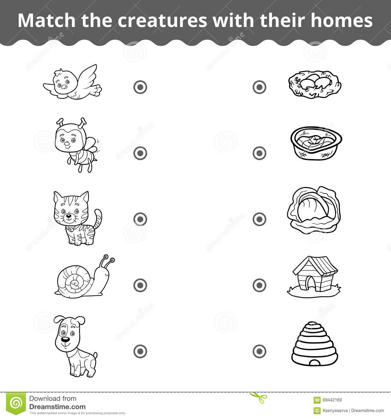 Matching Game For Children Animals And Their Homes Stock Vector