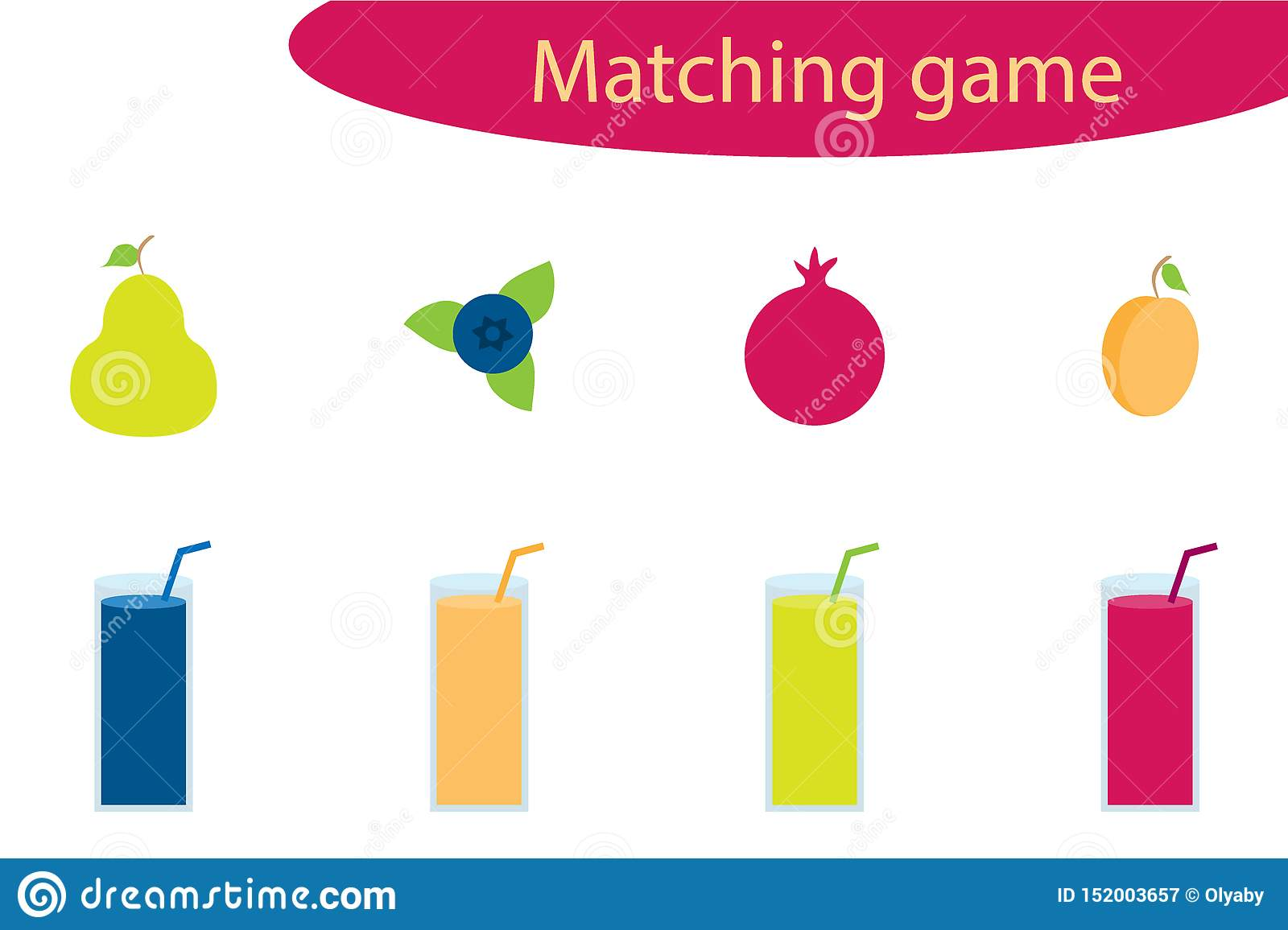 Matching Game For Children Connect Colorful Fruit With