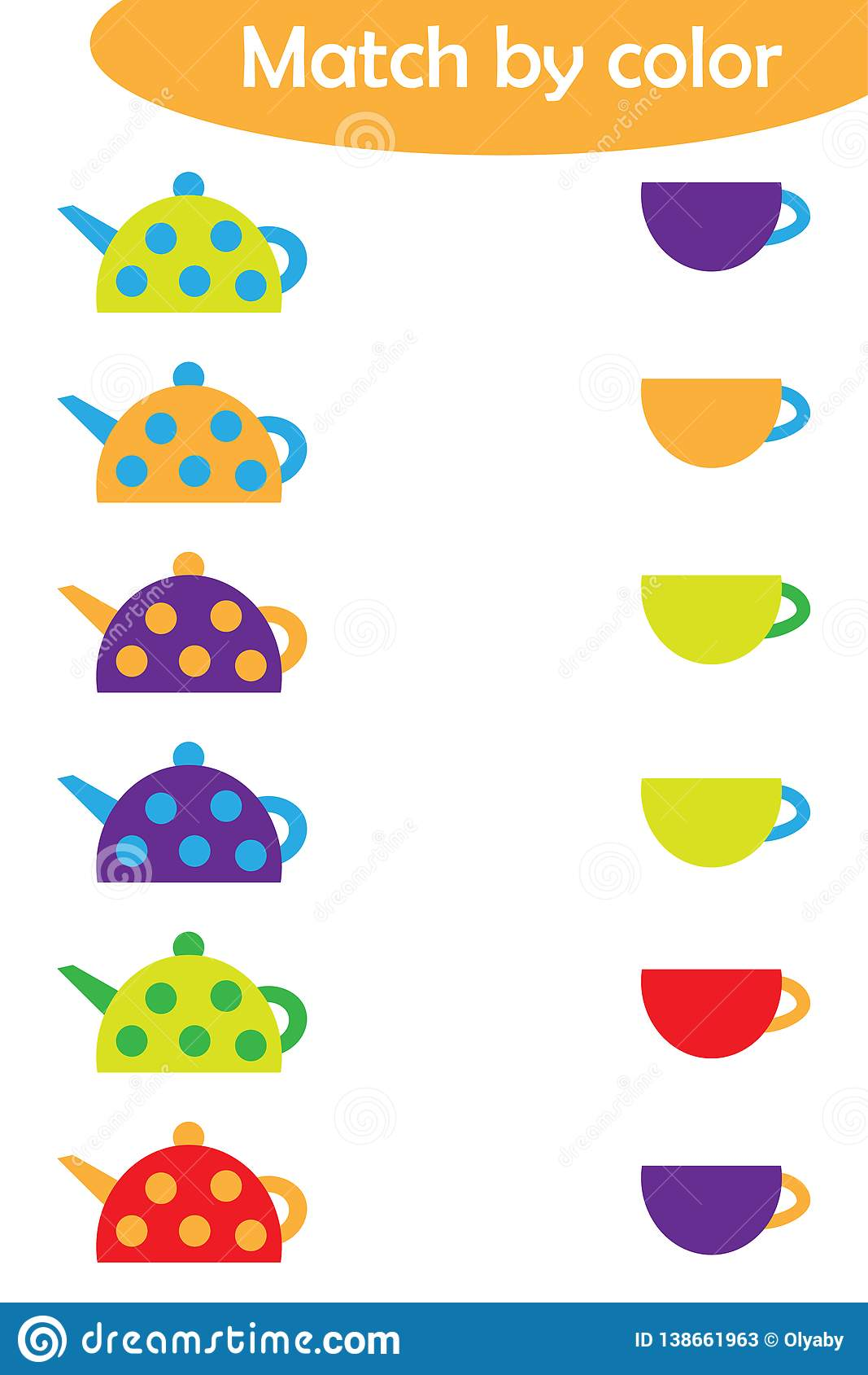 Matching Game For Children Connect Colorful Kettles With