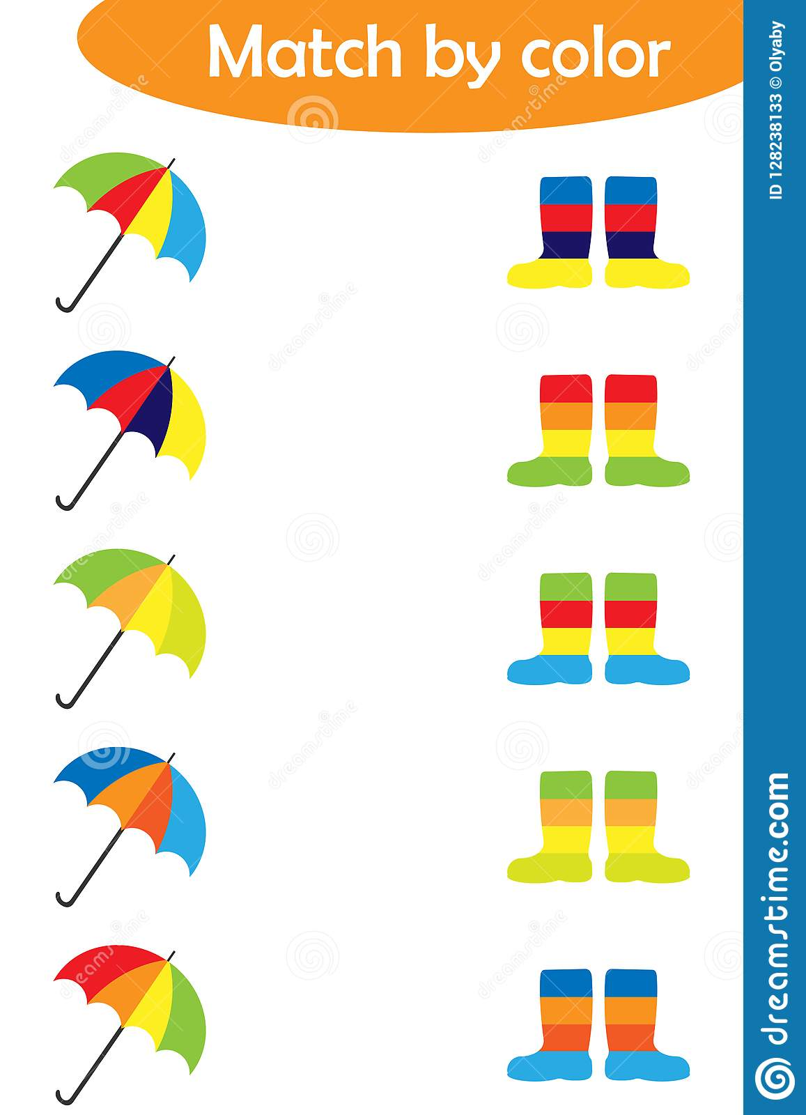 Matching Game For Children Connect Colorful Umbrellas