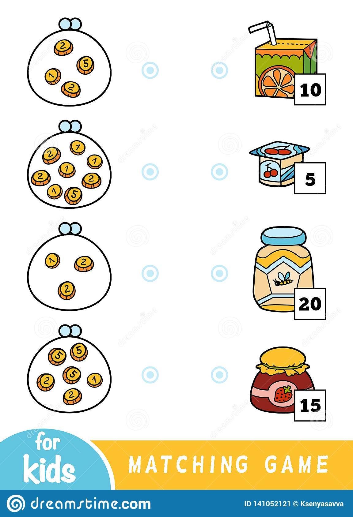 Matching Game For Children Count How Many Money Is In