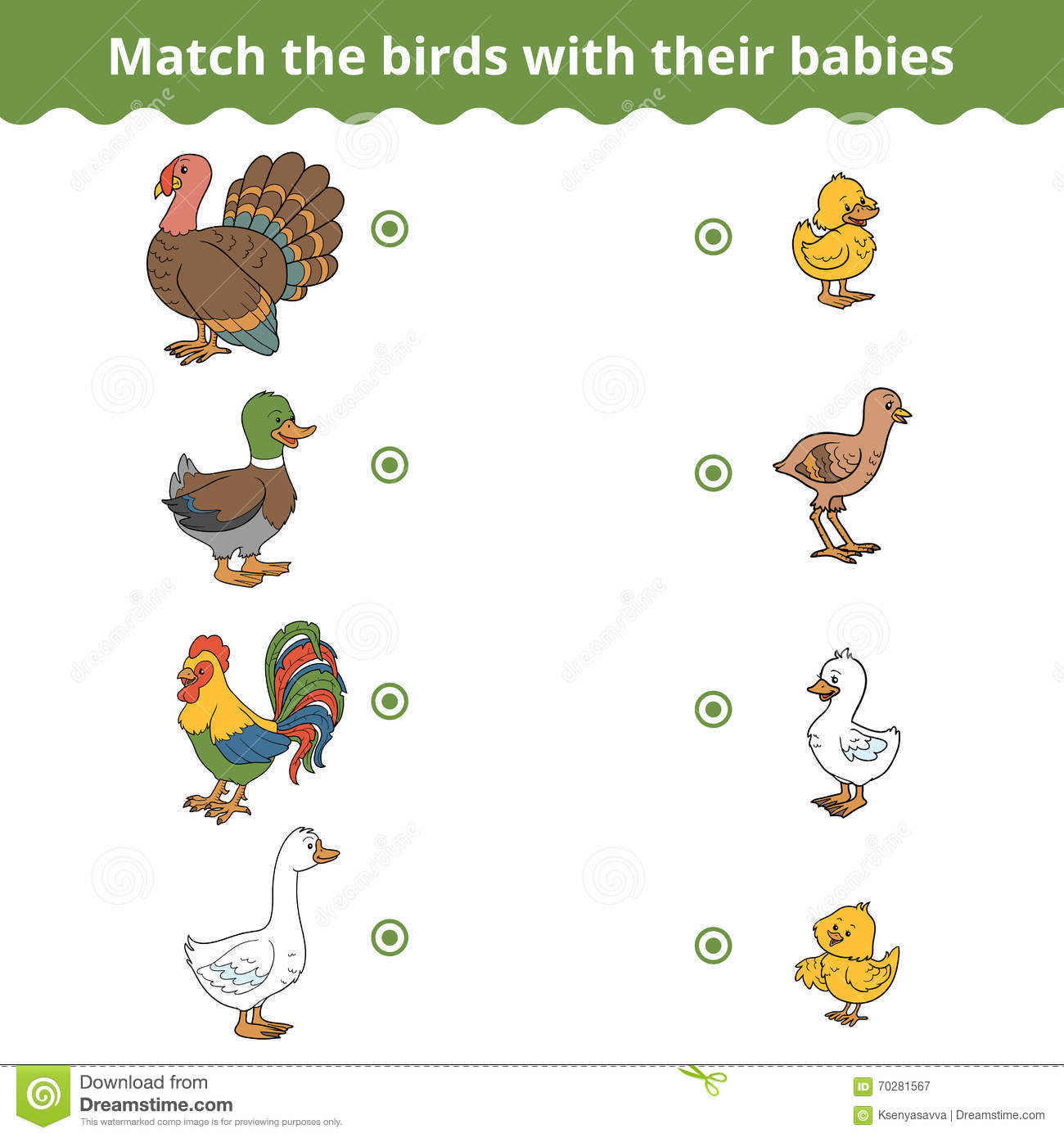 Matching Game For Children Farm Birds And Babies Stock Vector