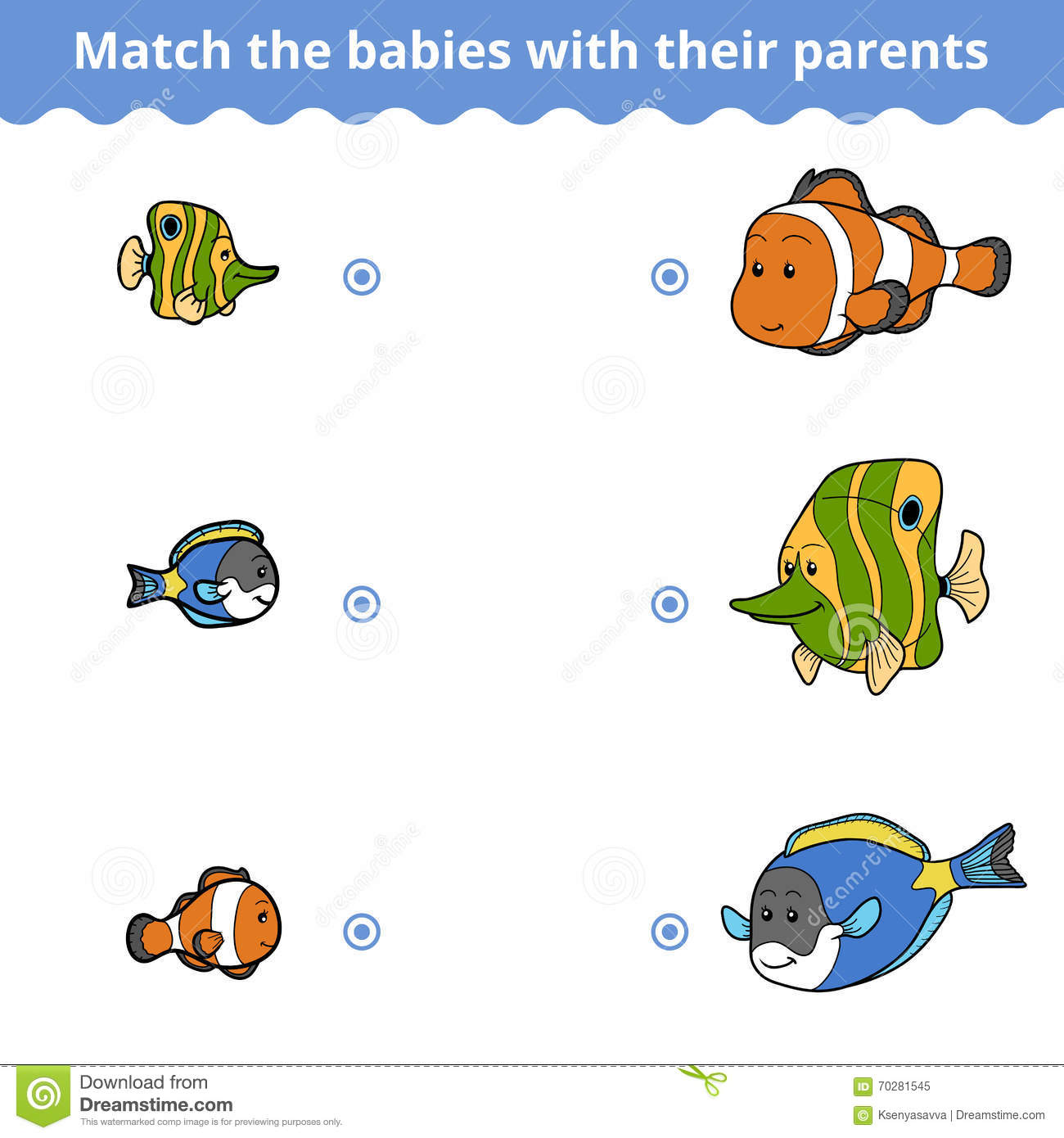 Matching Game For Children Fish Family Stock Vector
