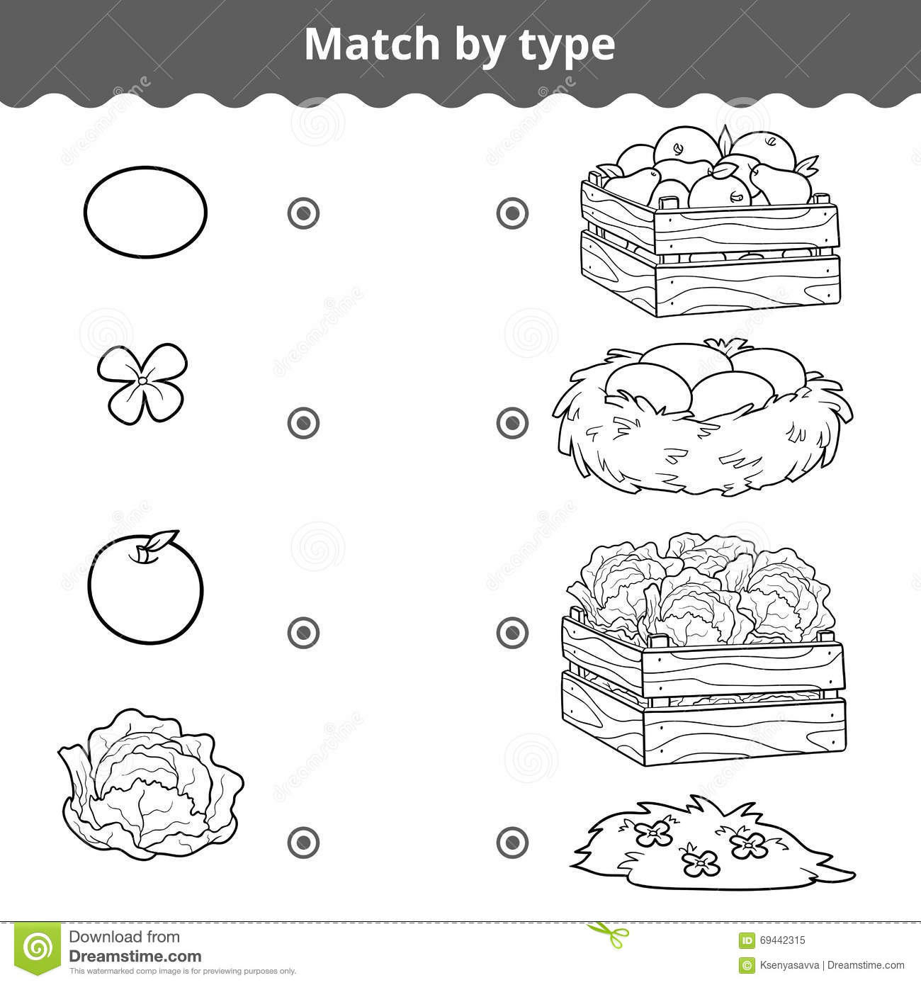 Matching Game For Children Match Items By Type Stock