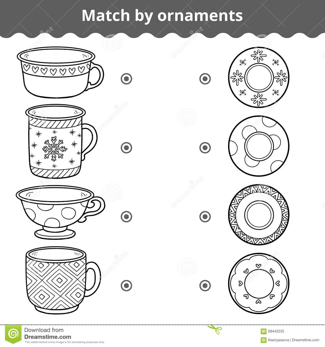 Matching Game For Children Match Plates And Mugs By