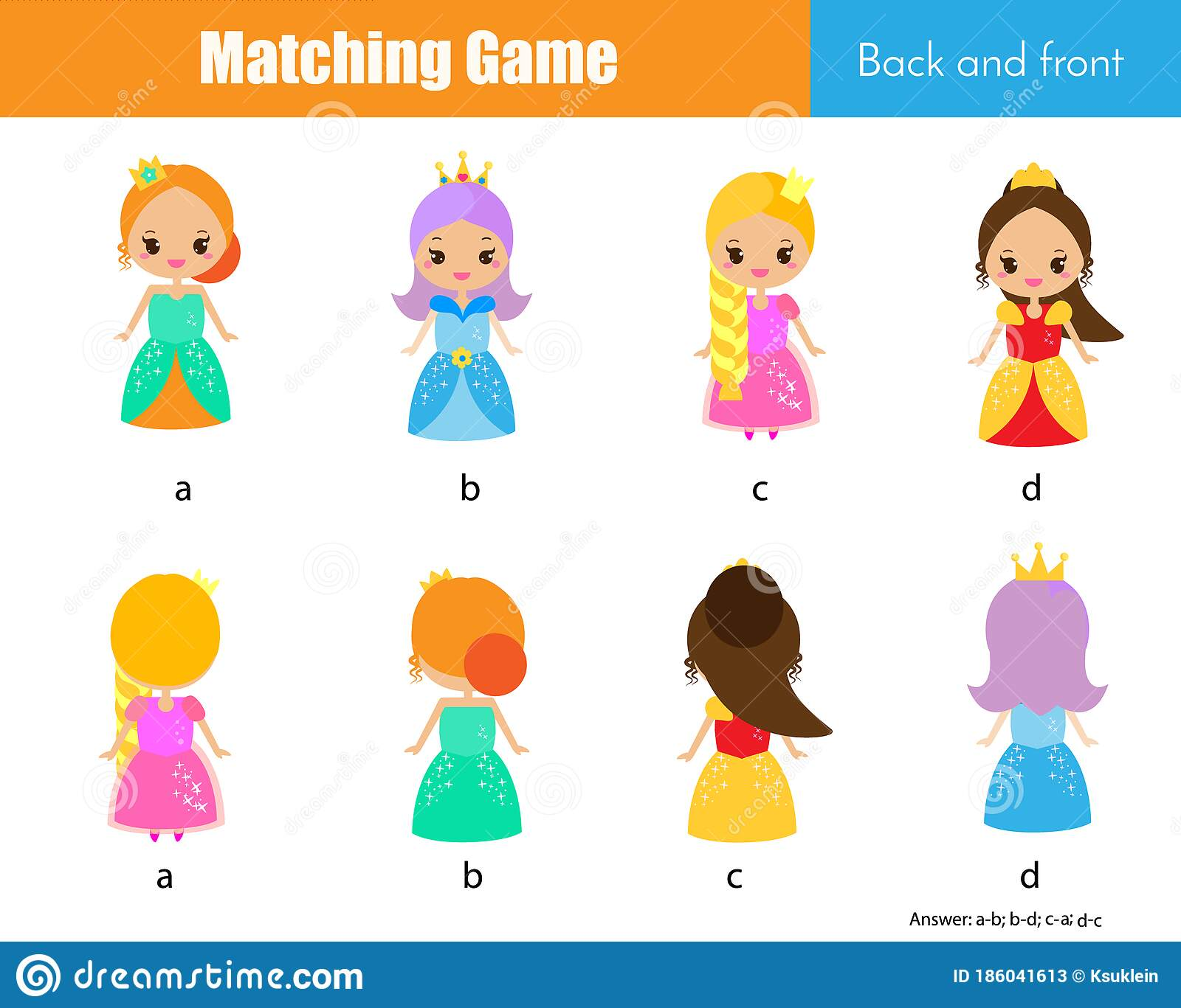 Matching Game Educational Children Activity With Cute
