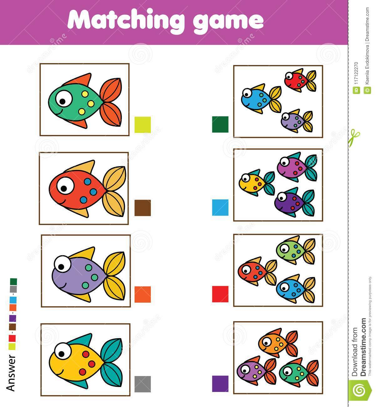 Matching Game Educational Children Activity With Fish