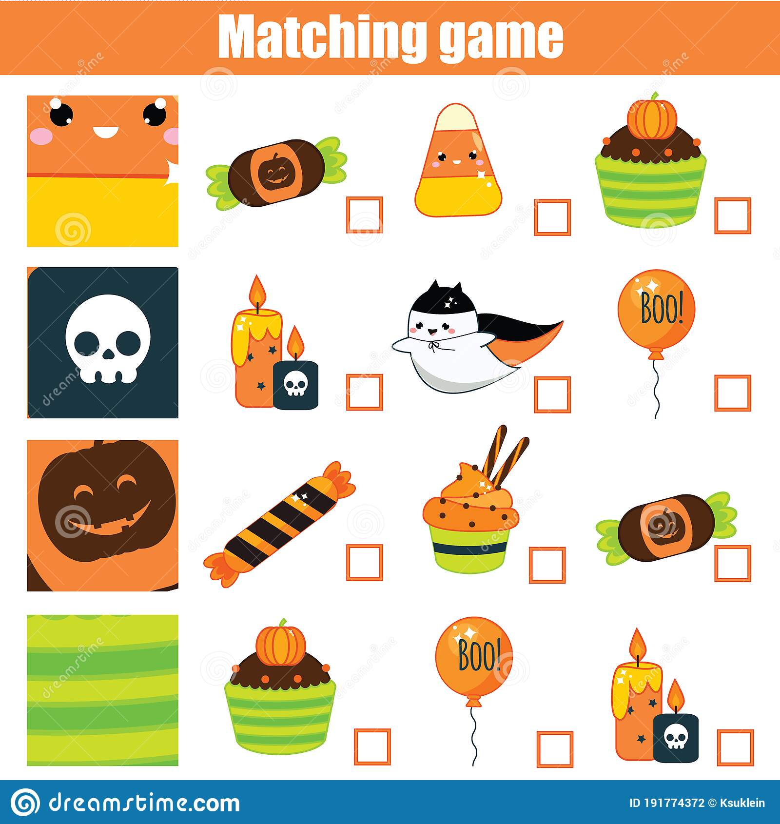 Matching Game Educational Children Activity Halloween