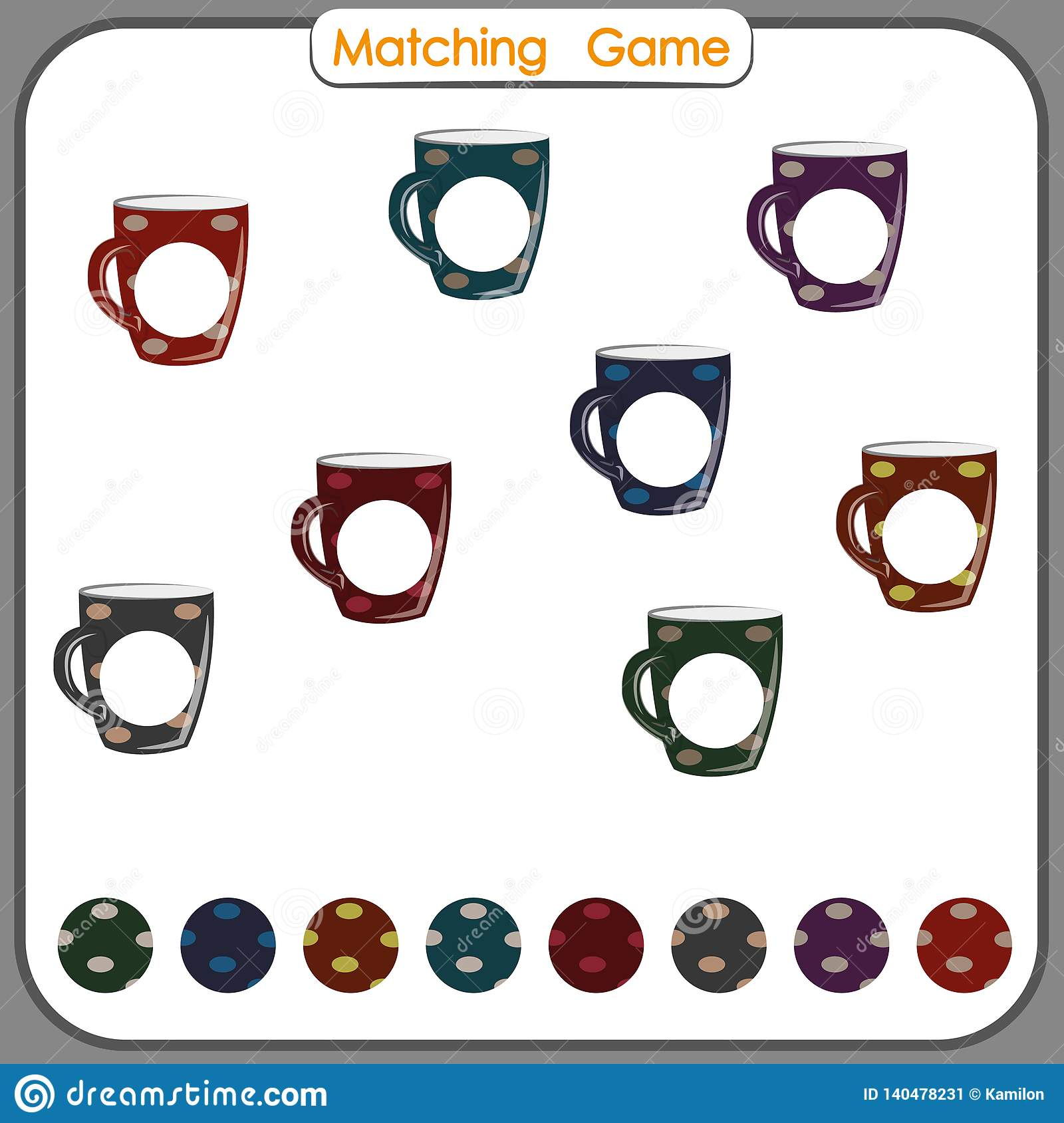 Matching Game Find Missing Part Visual Educational Game