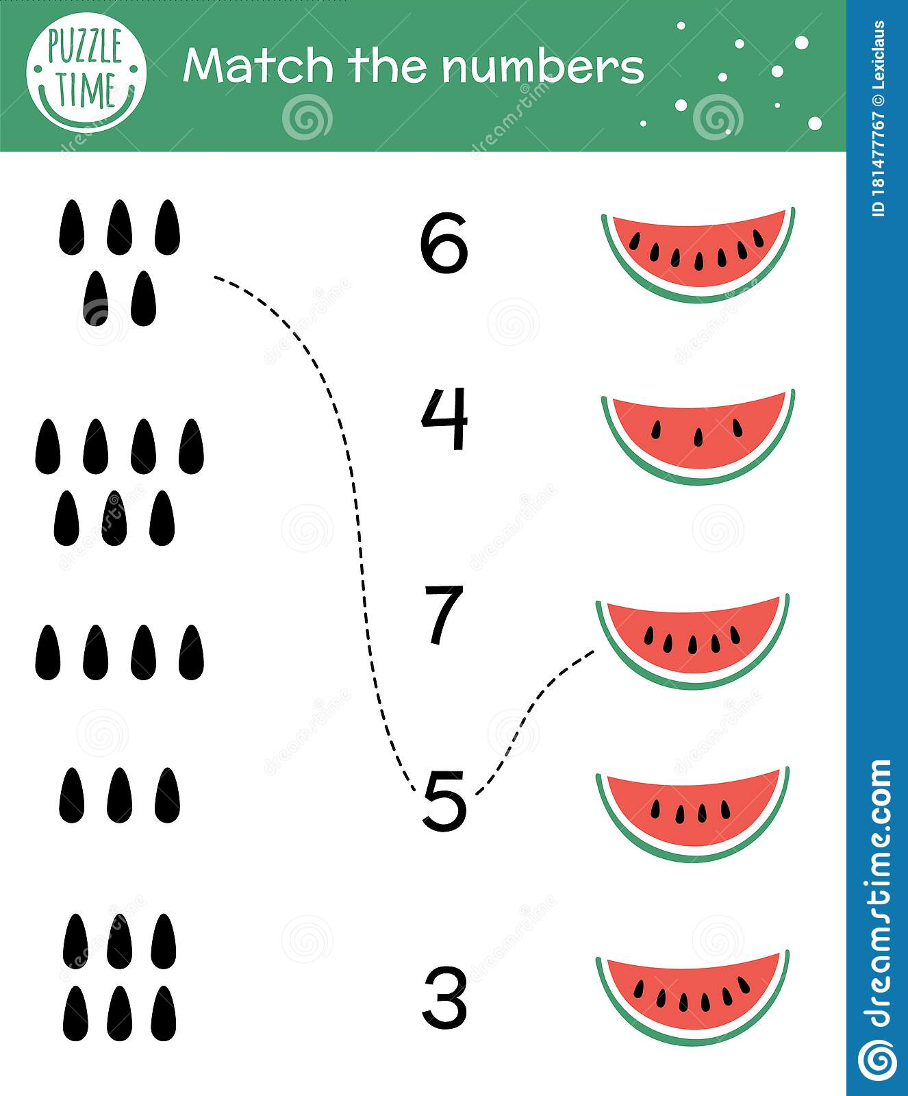 Matching Game With Watermelon Slice And Seeds Summer Math