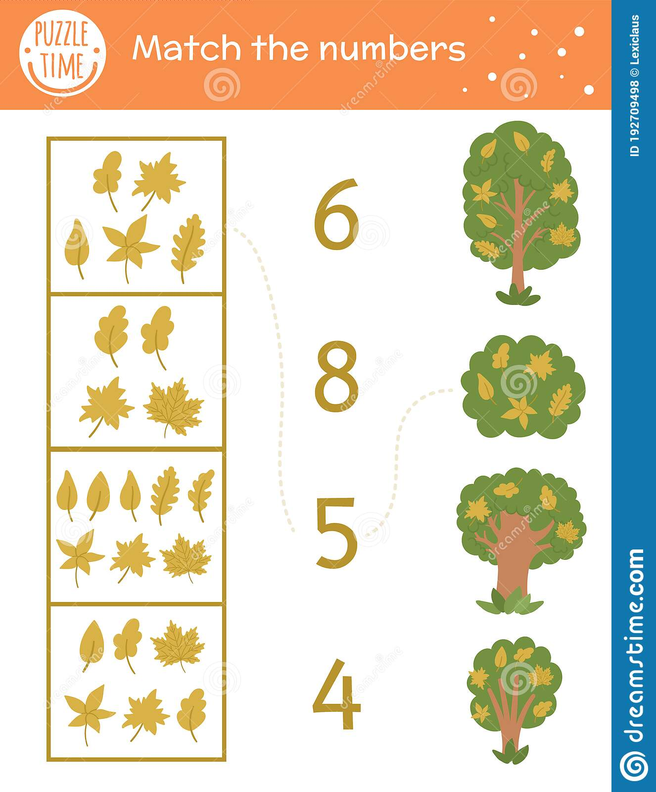Matching Game With Yellow Leaves And Trees Autumn Math