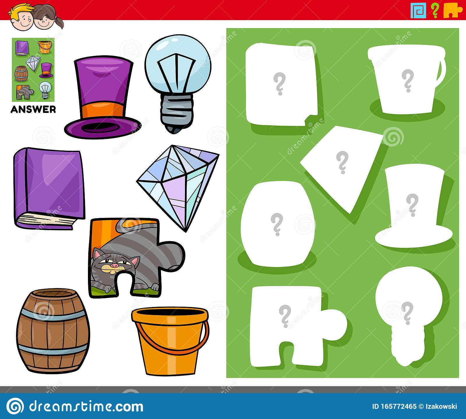 Matching Shapes Game With Cartoon Objects Stock Vector
