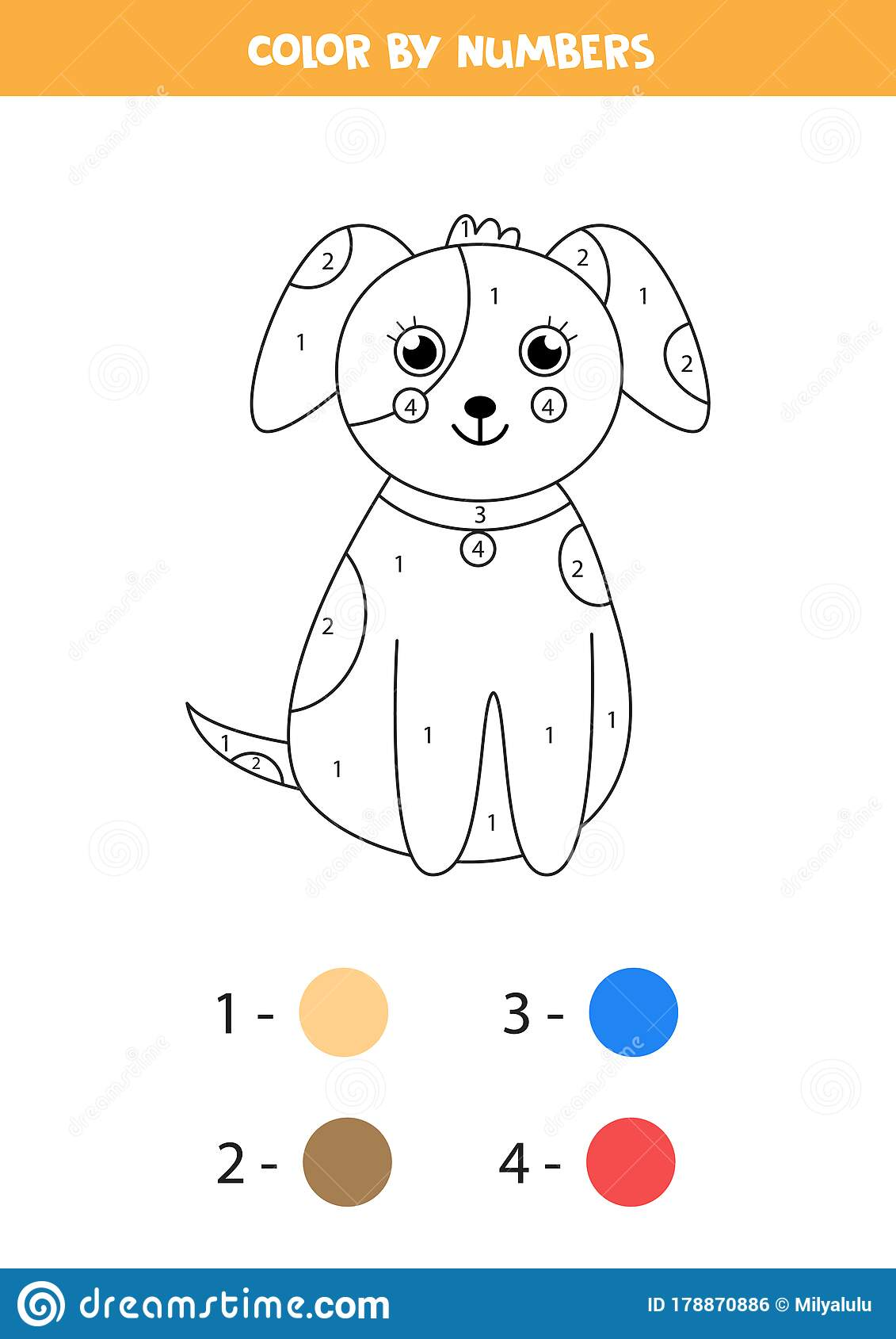 Math Coloring Page For Children Color Cute Carton Dog
