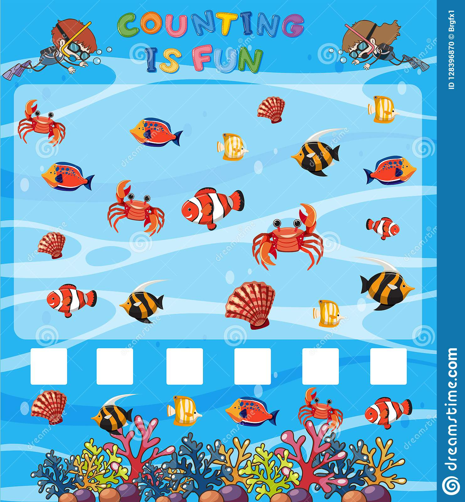 Math Counting Game Underwater Template Stock Vector