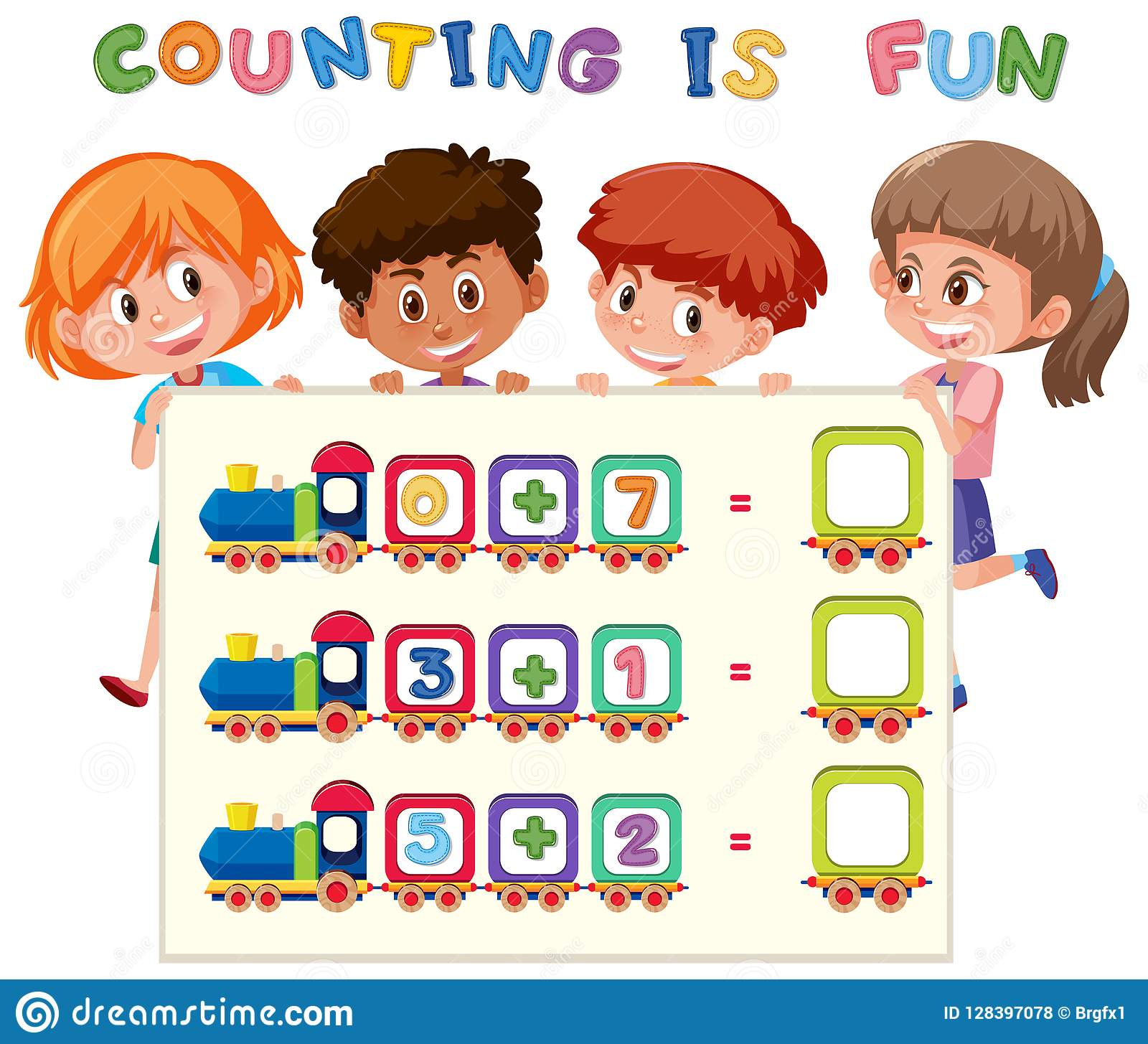 Math Counting Number Worksheet Stock Vector