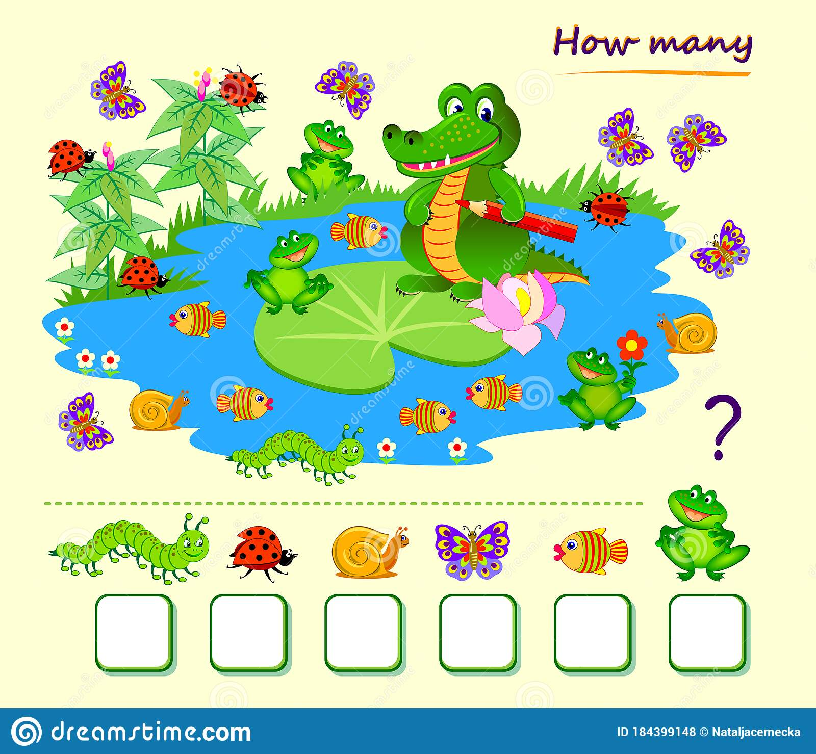 Math Education For Children Count Quantity Of Animals