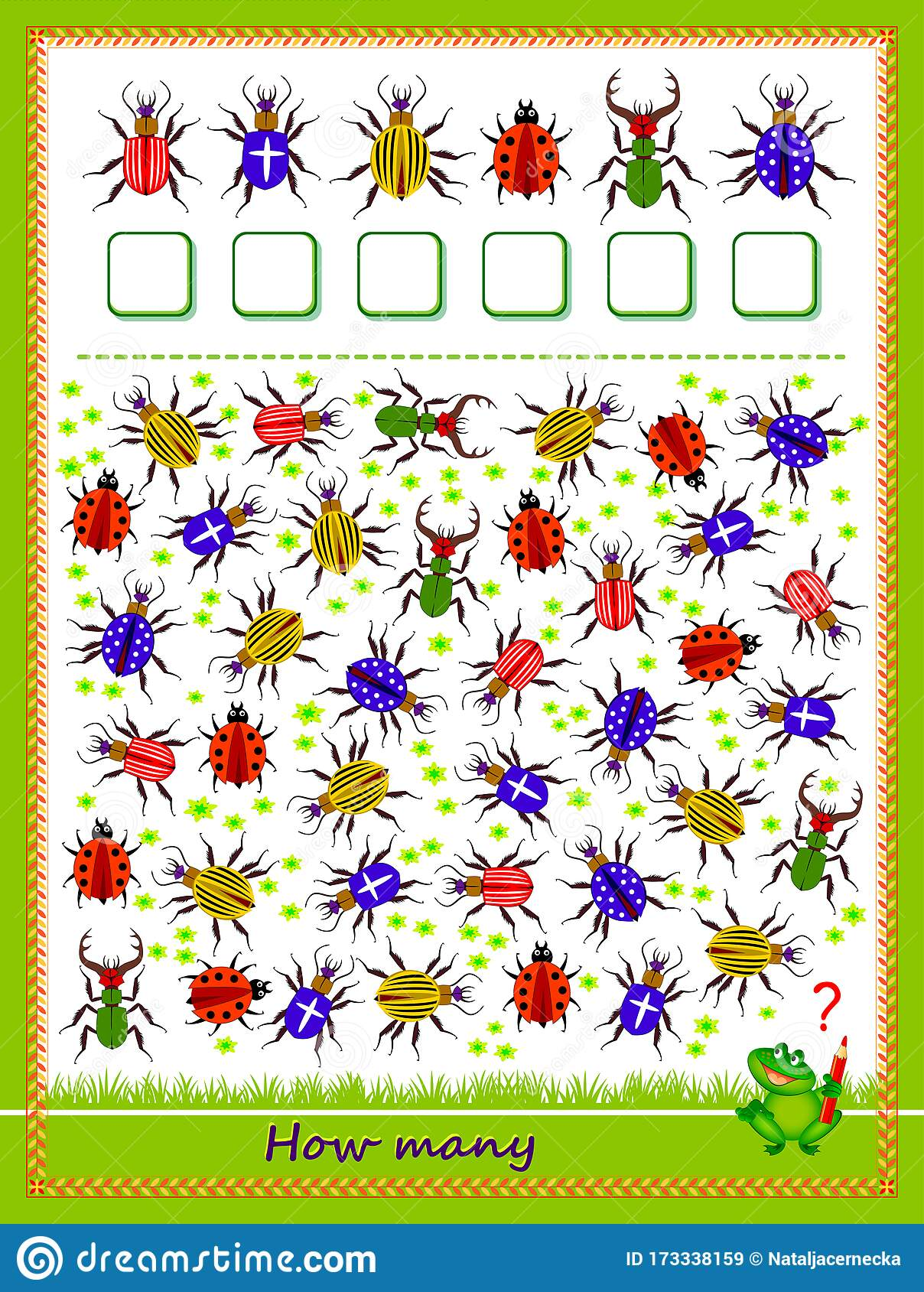 Math Education For Children Count Quantity Of Bugs And