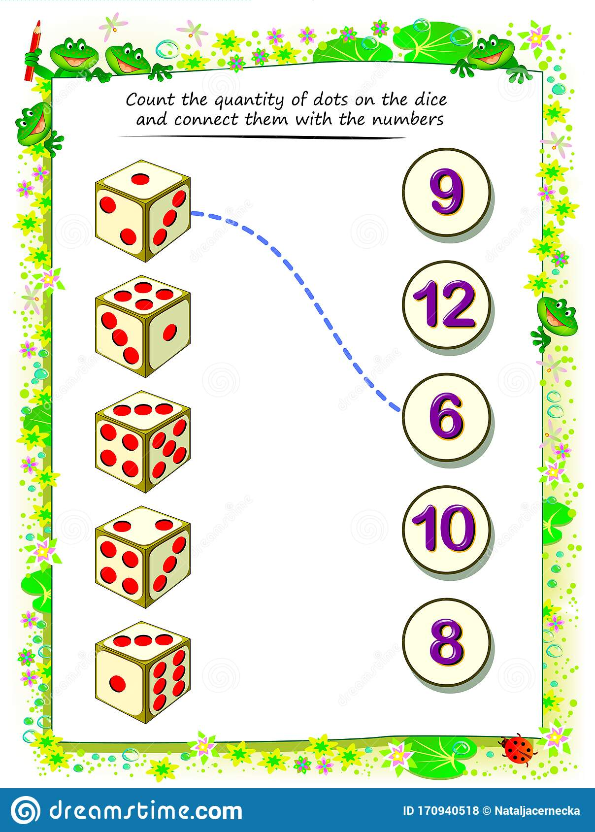Math Education For Children Count The Quantity Of Dots On