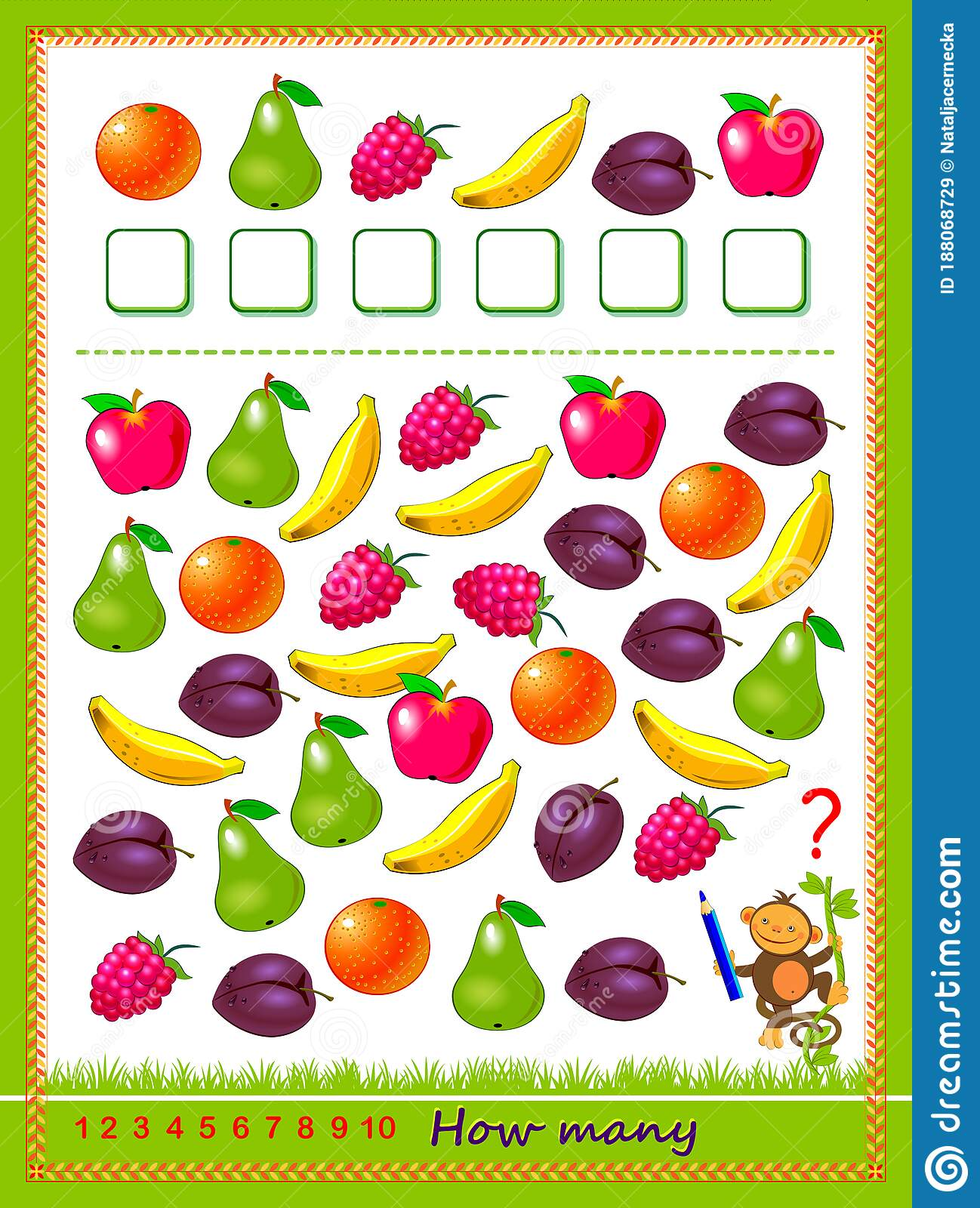 Math Education For Children Count Quantity Of Fruits And