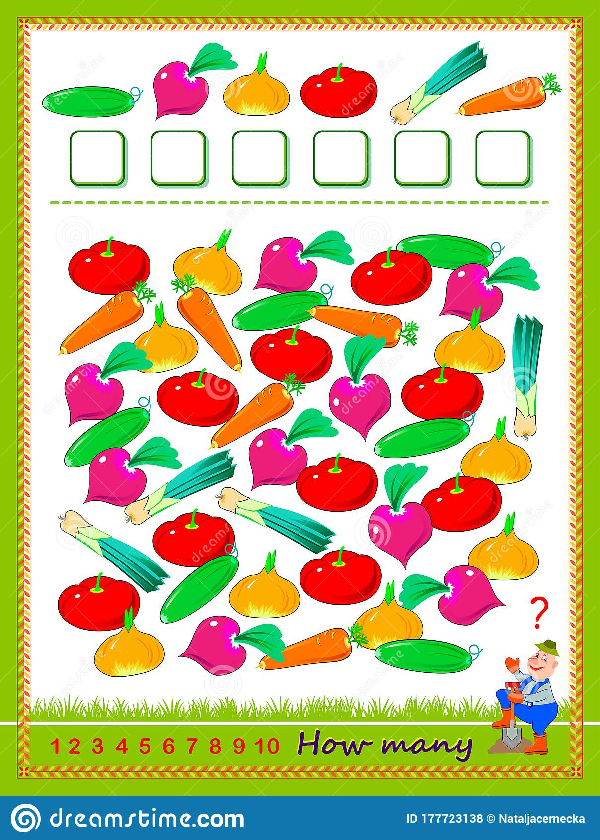 Math Education For Children Count Quantity Of Vegetables