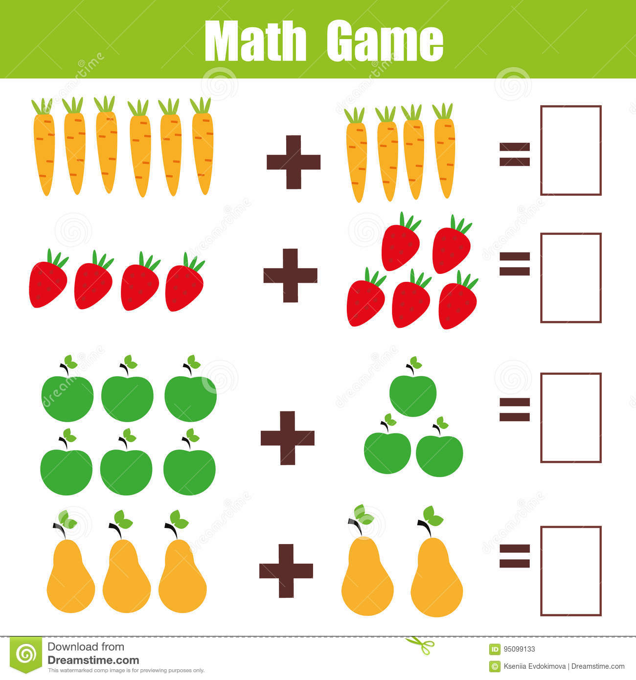 Math Educational Game For Children Addition Mathematics Worksheet Stock Vector