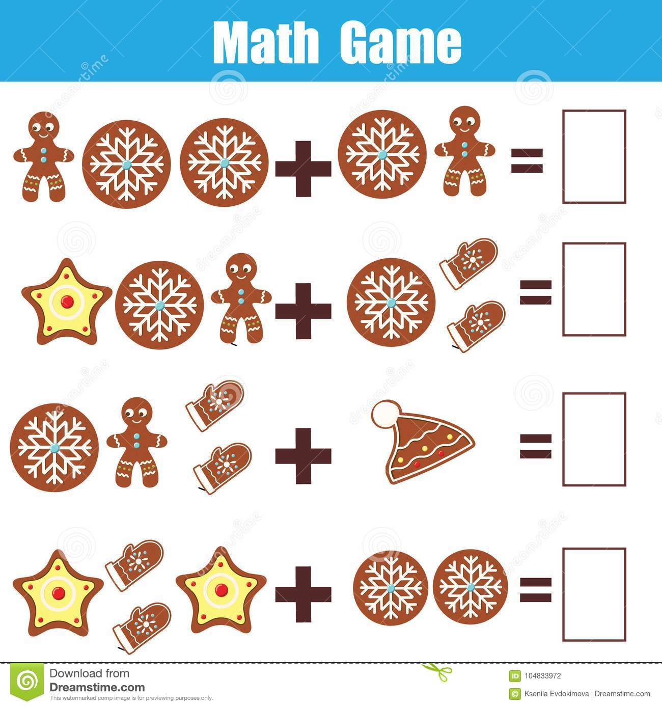 Math Educational Game For Children Counting Equations Addition Worksheet Christmas Theme