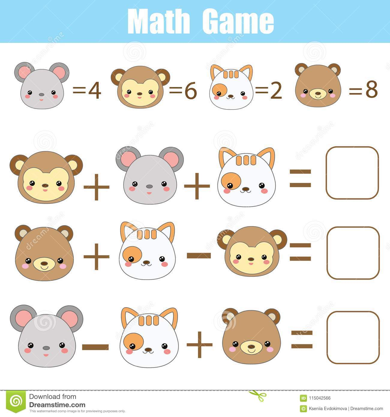 Math Educational Game For Children Counting Equations Mathematics Worksheet With Animals Faces