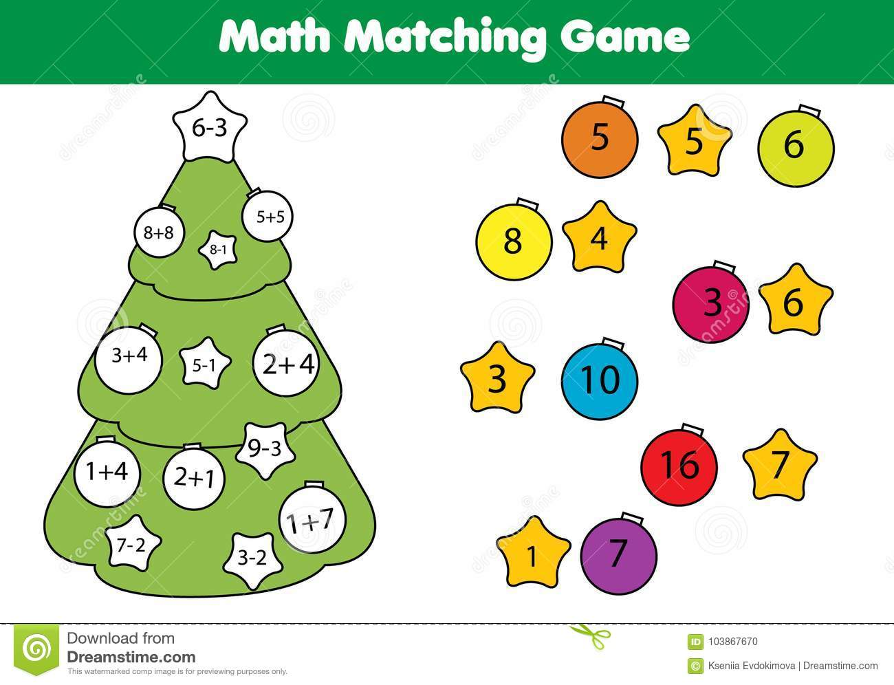 Math Educational Game For Children Matching Mathematics