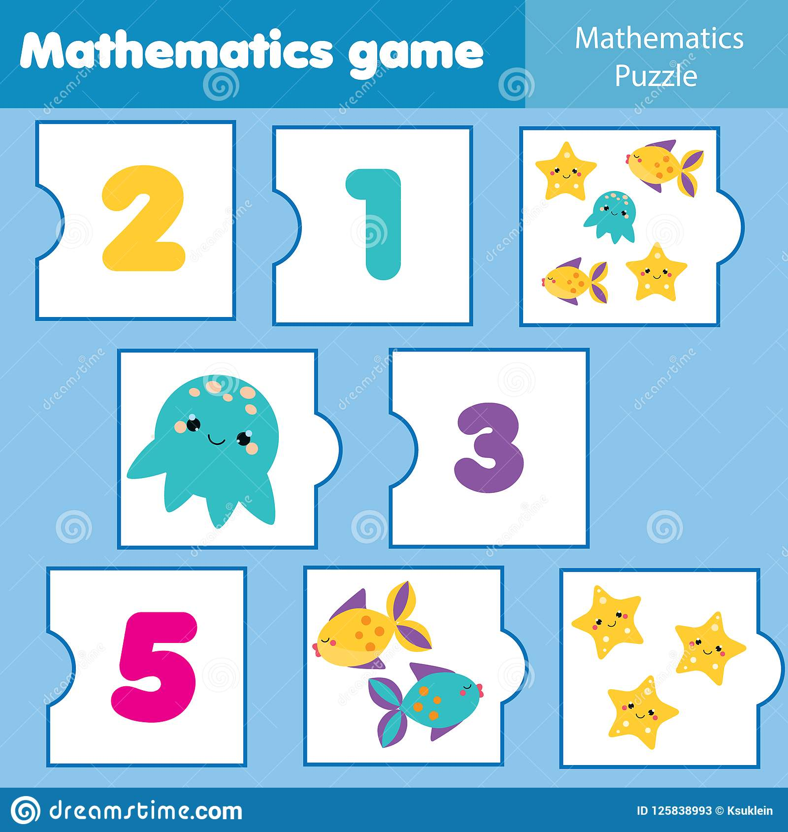 Math Educational Game For Children Matching Mathematics Puzzles Counting Game For Kids And