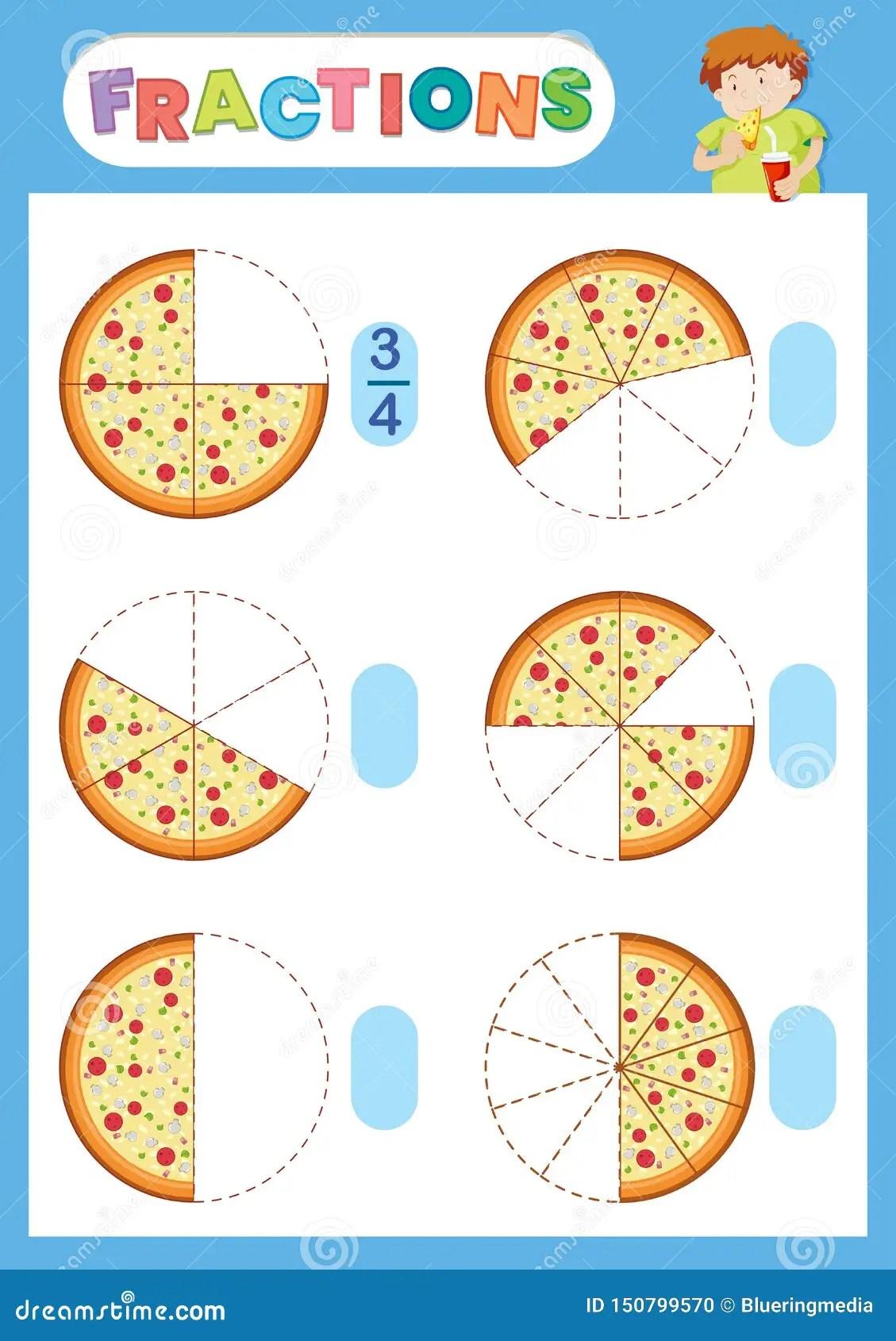 A Math Fraction Worksheet Stock Illustration Illustration