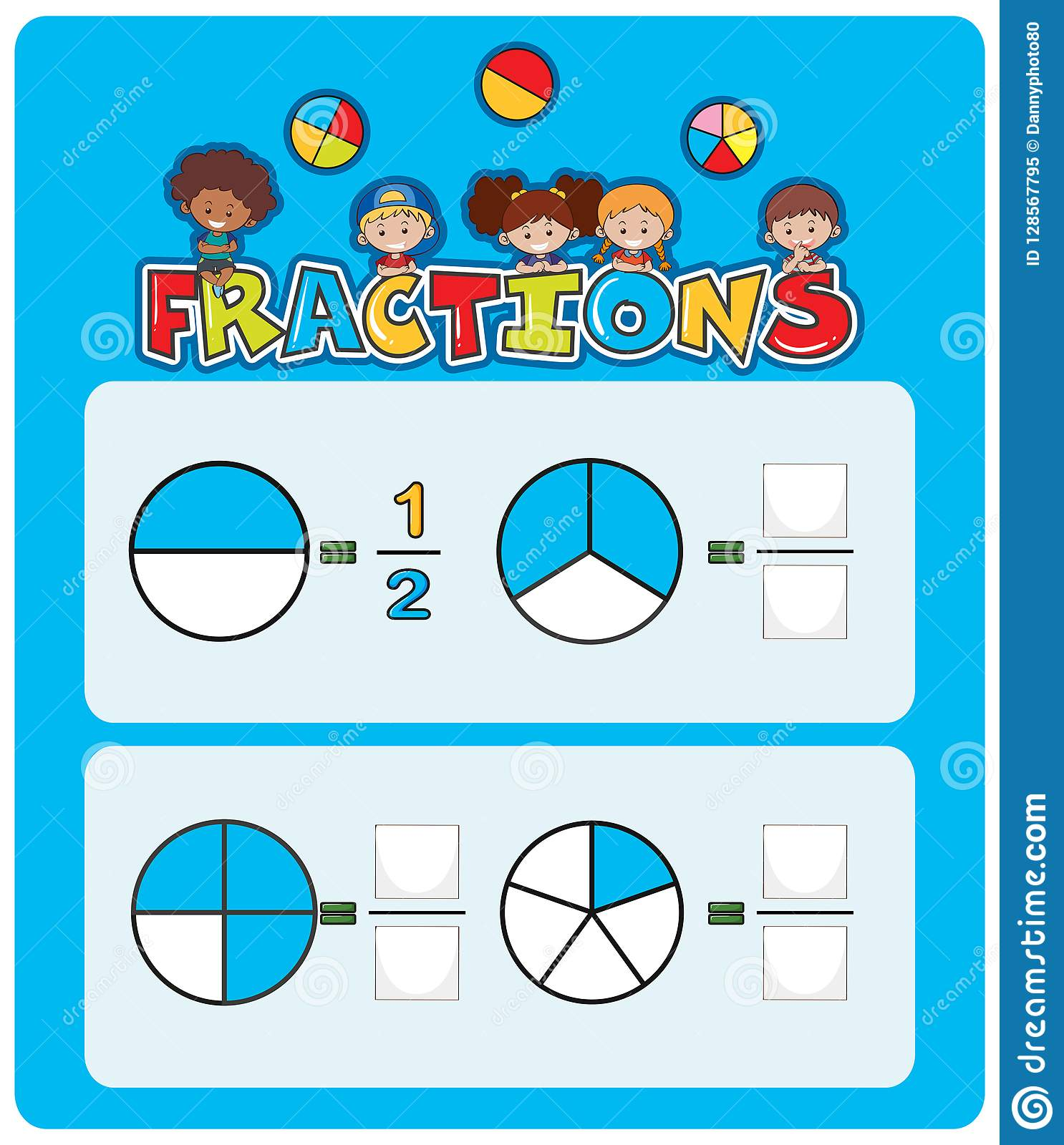 A Math Fractions Worksheet Stock Vector Illustration Of